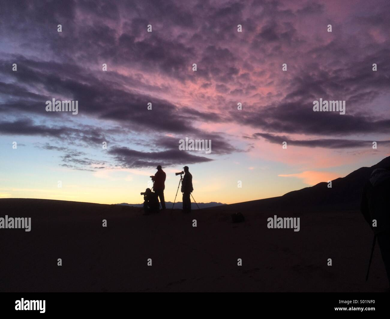 Photographers at sunset - Stock Image