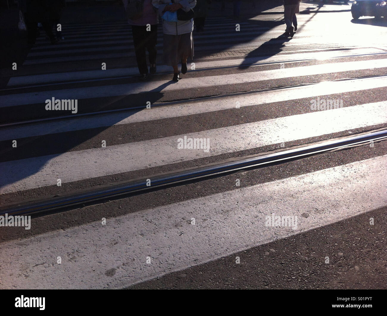 Street crossing. Warsaw, Poland. - Stock Image