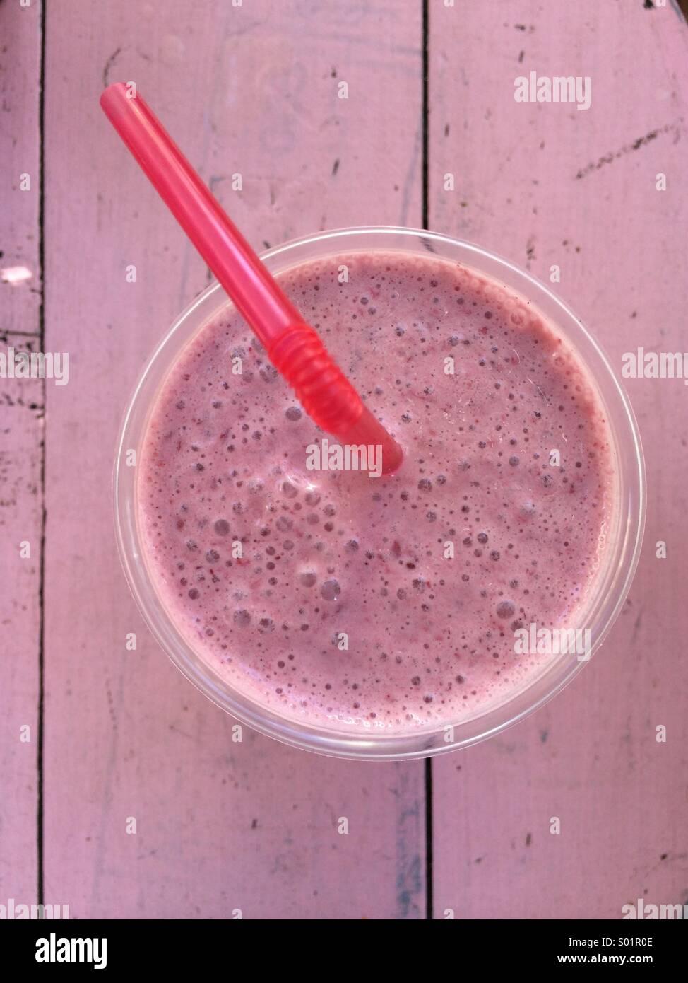 Pink smoothie - Stock Image