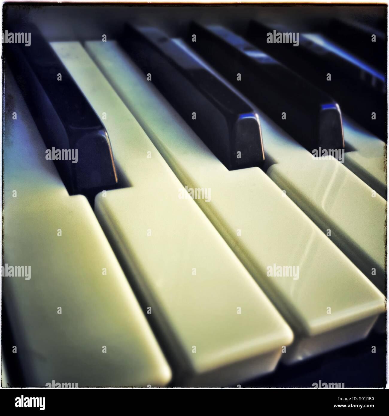 Piano keys close up - Stock Image