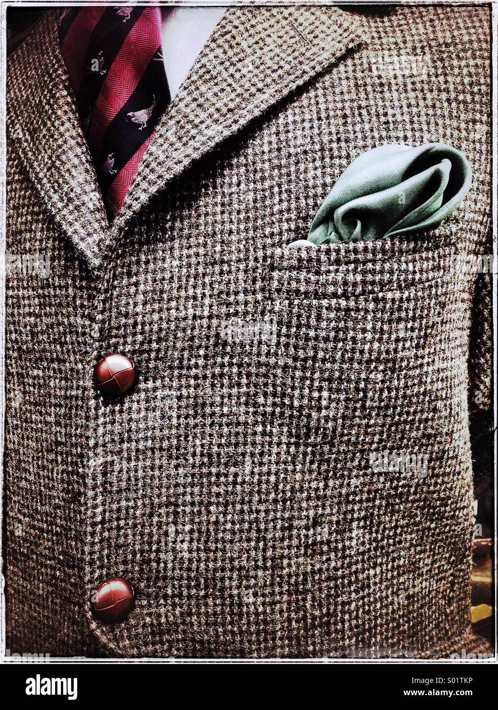 Gentleman's tweed jacket -close-up - Stock Image