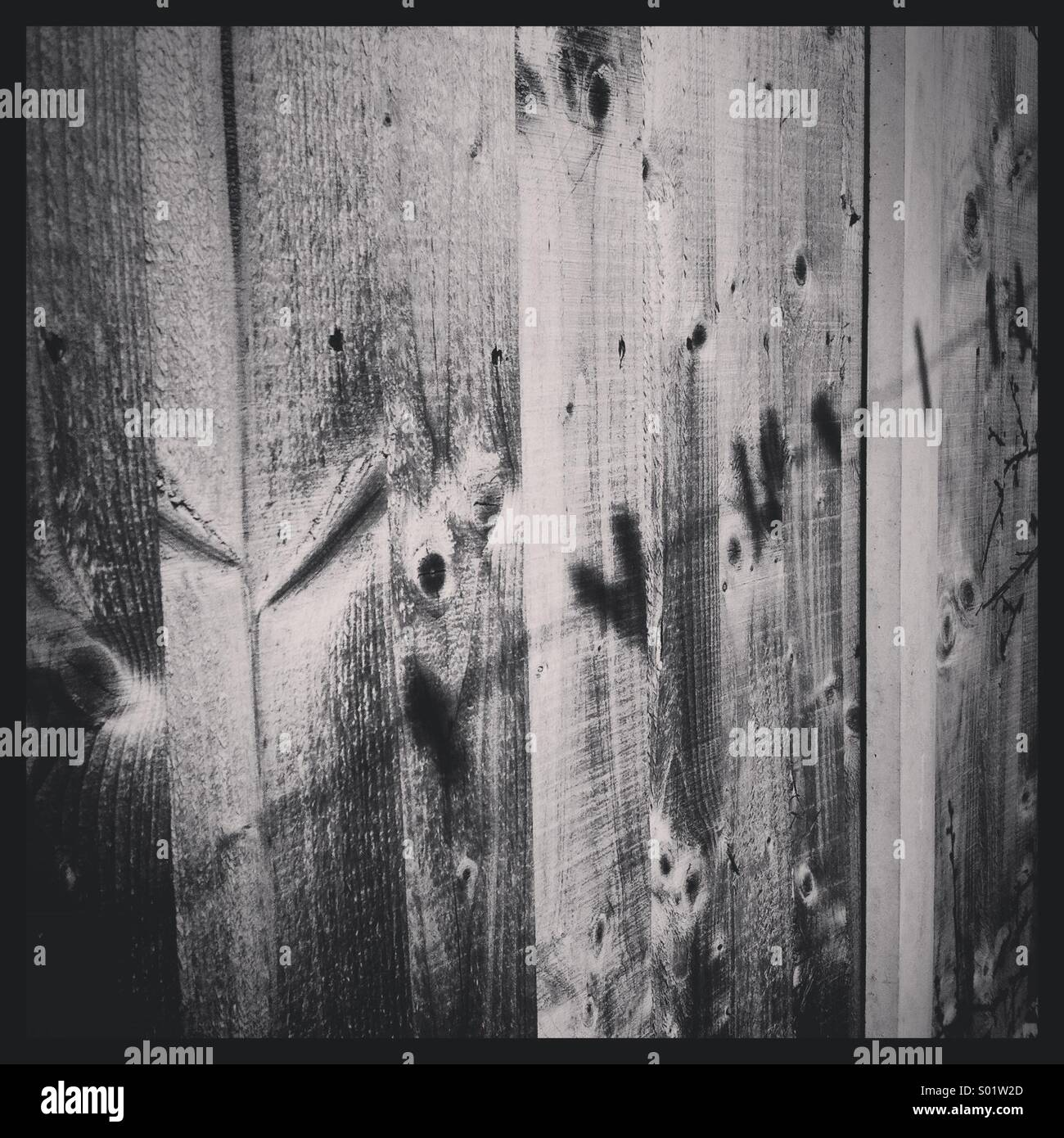 Black and white photograph of the shadow of clothes pegs on a washing line on a wooden fence panel - Stock Image