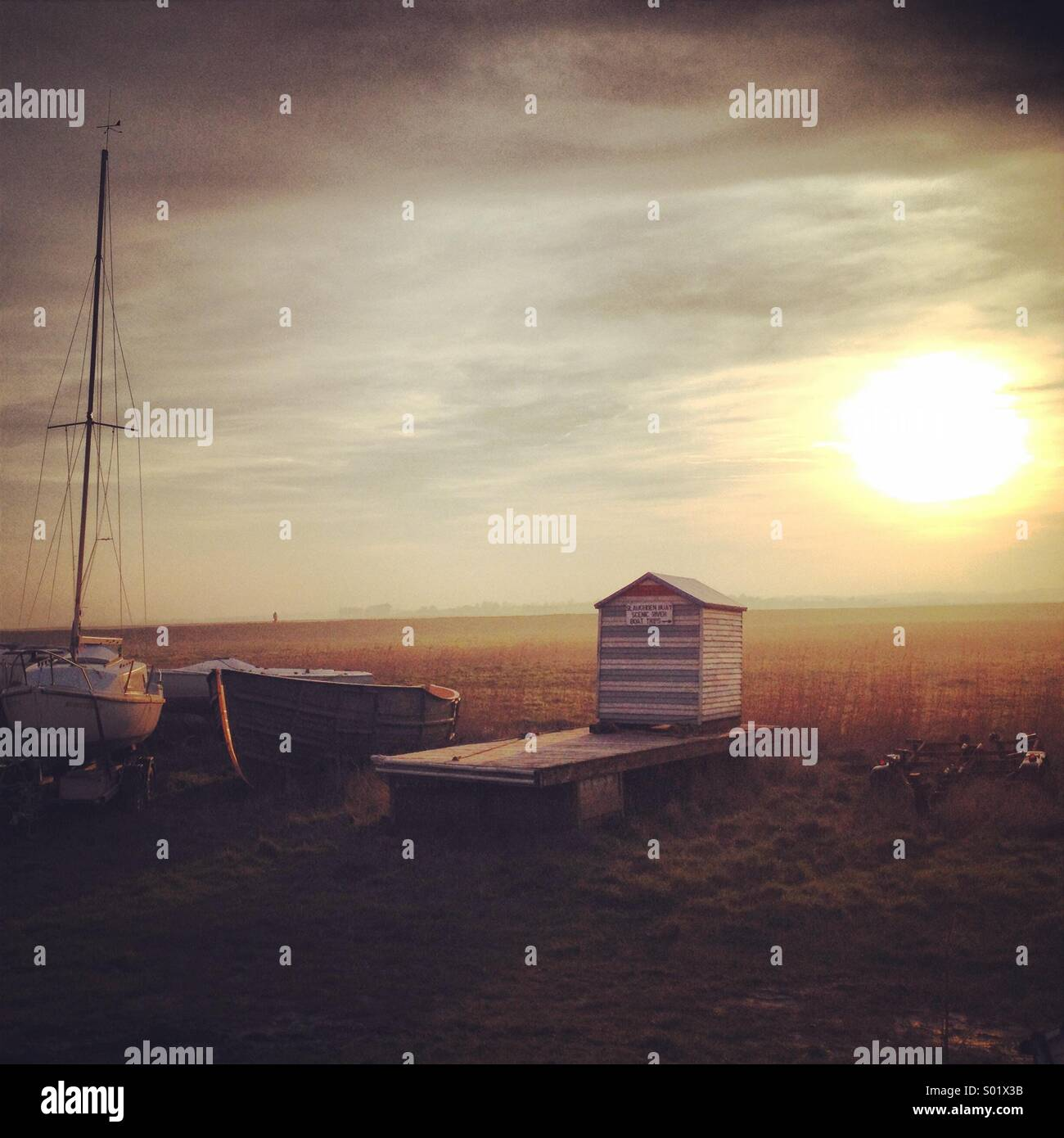 Sunset in Suffolk - Stock Image