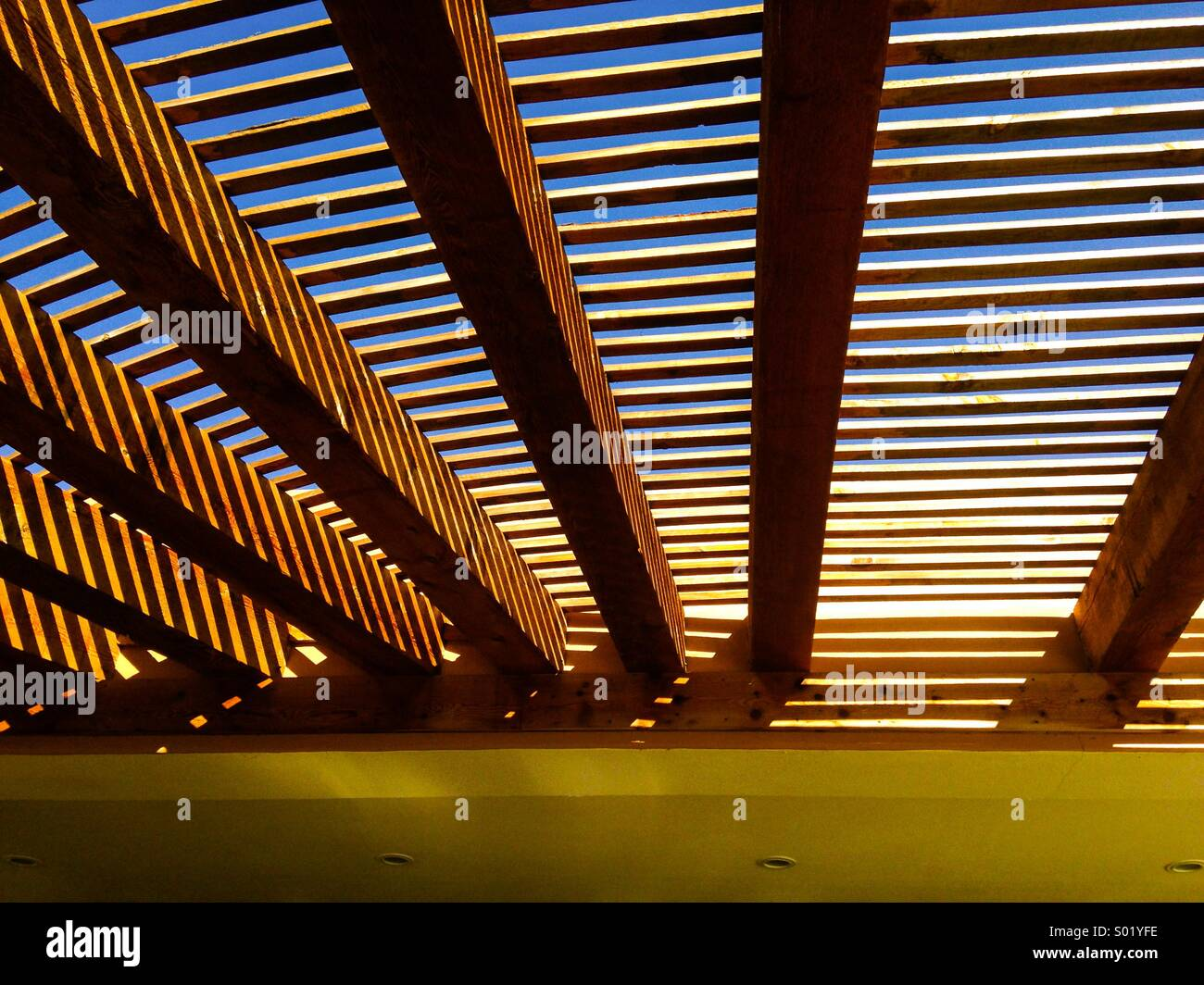 Wooden slatted covering over a beachside bar in Baja California - Stock Image