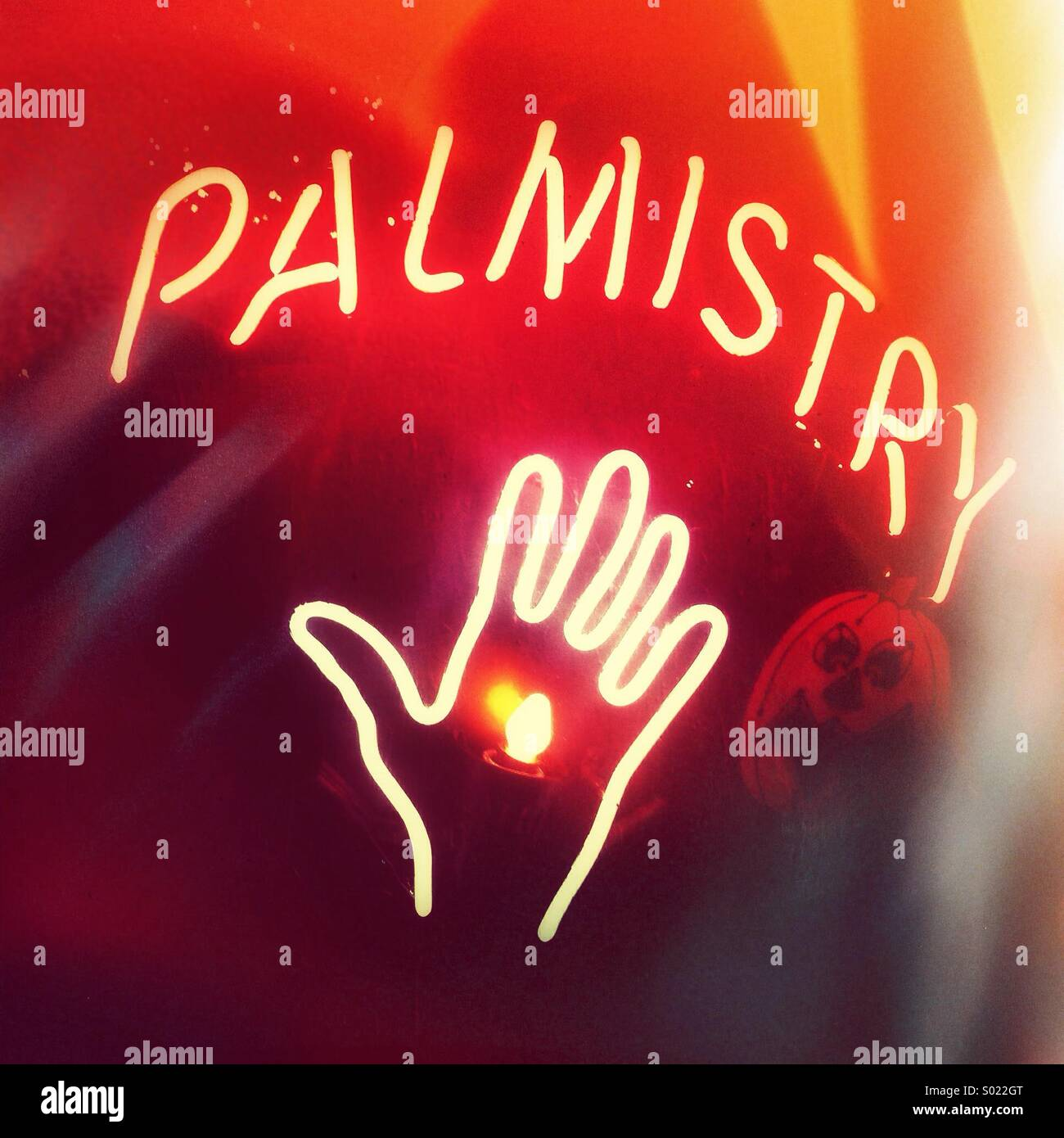 Palm reading sign stock photos palm reading sign stock images alamy neon fortune teller sign in window at night during halloween season north america m4hsunfo