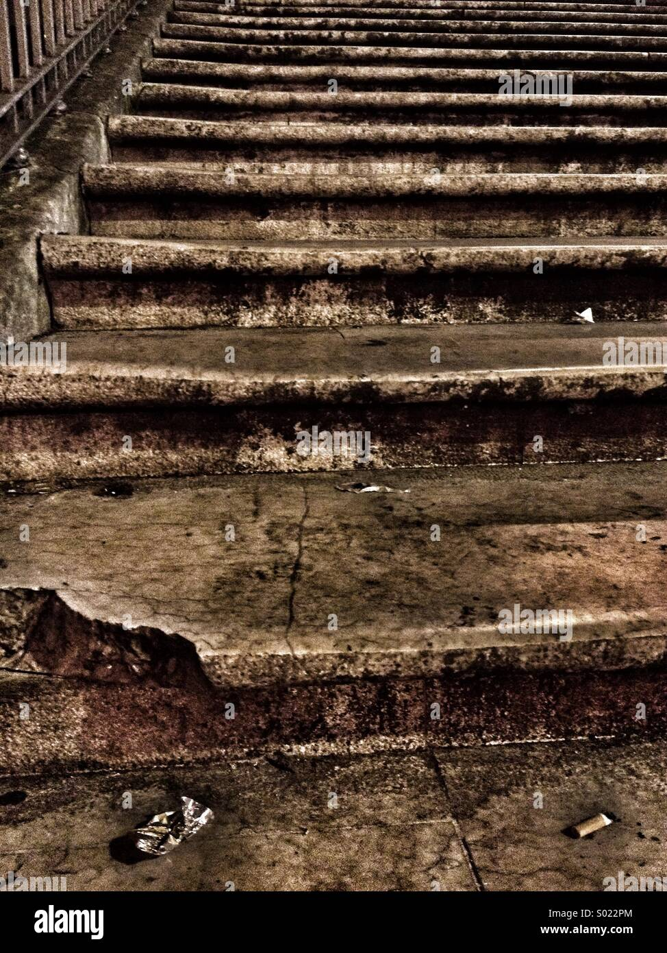 Worn staircase - Stock Image