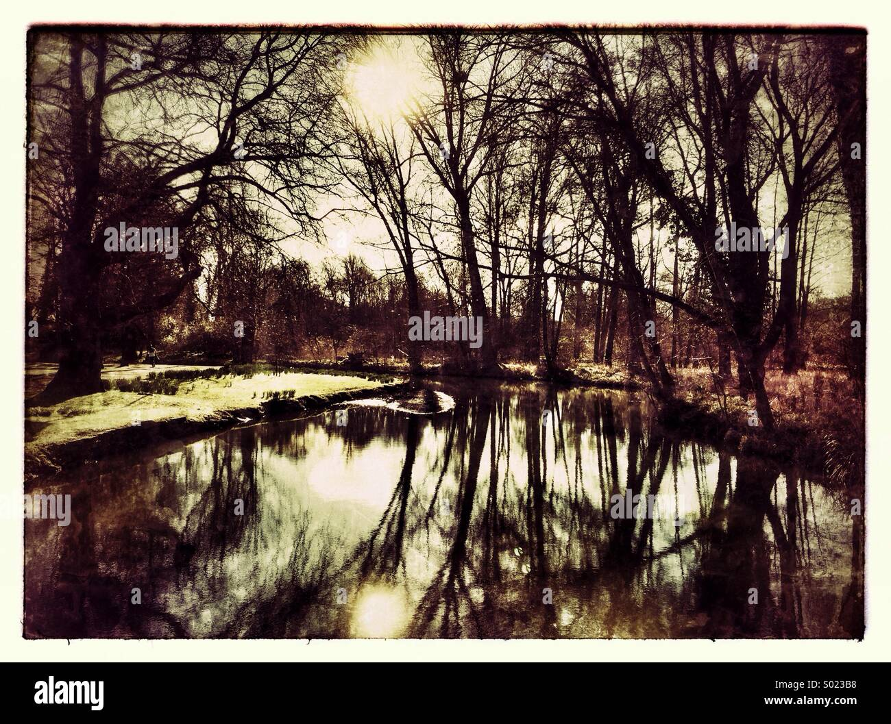 Reflections in The River Cherwell City of Oxford - Stock Image