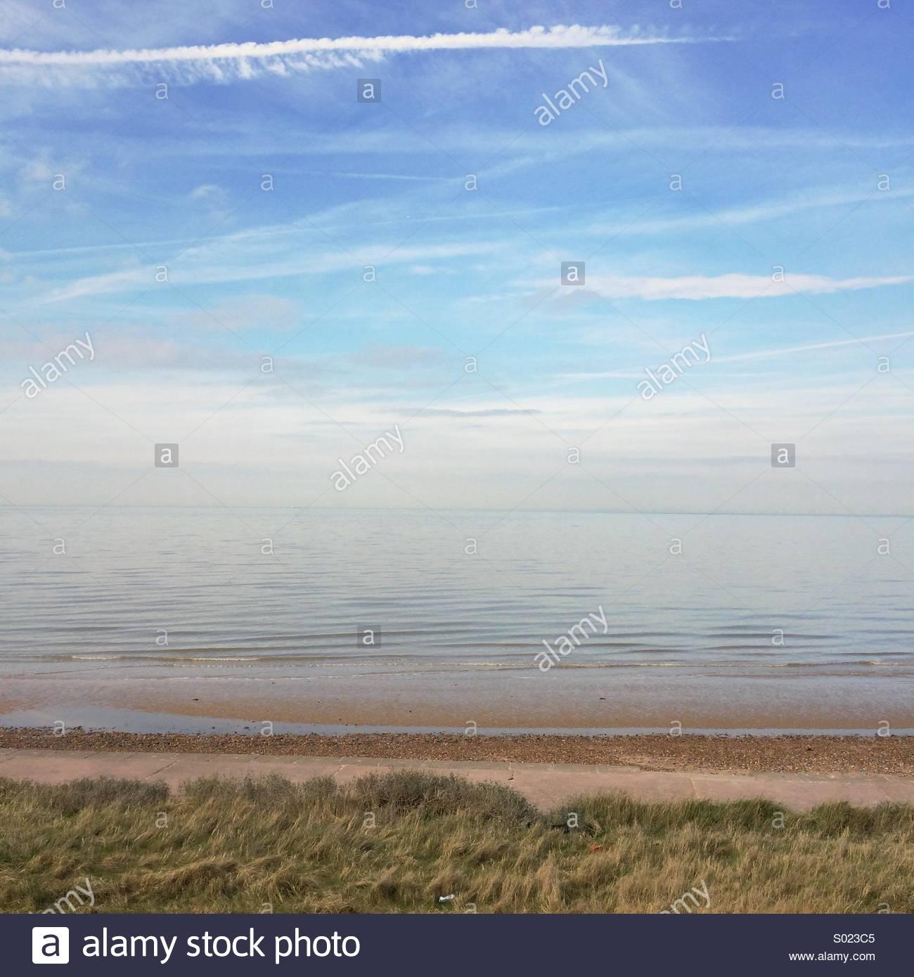 Calm seascape sea beach tranquil - Stock Image