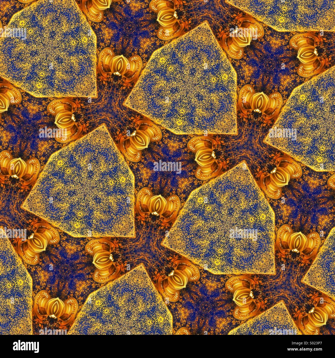 An eye pleasing kaleidoscopic pattern in brilliant gold and blue - Stock Image