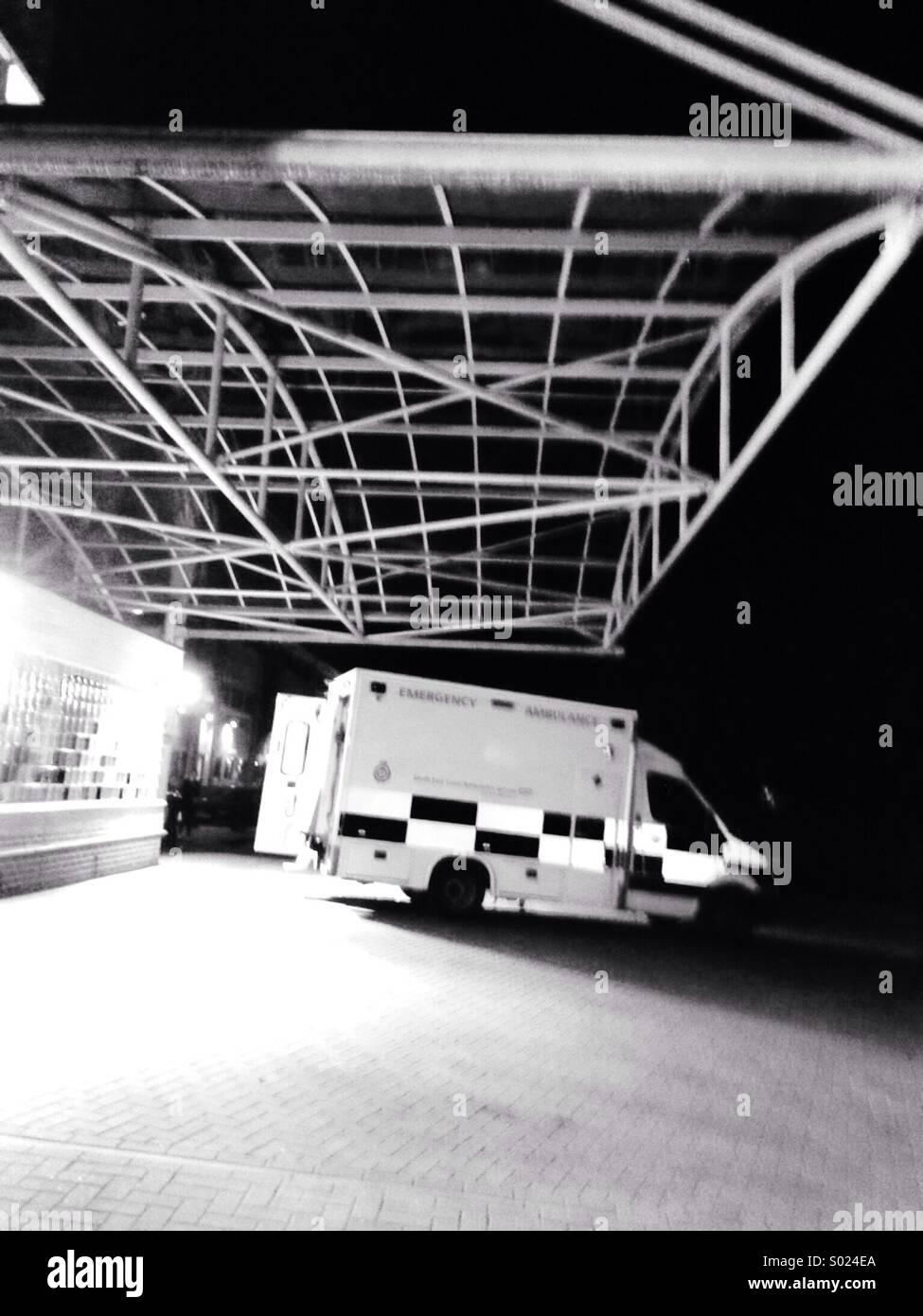 Ambulance  at A & E at night Epsom  General - Stock Image