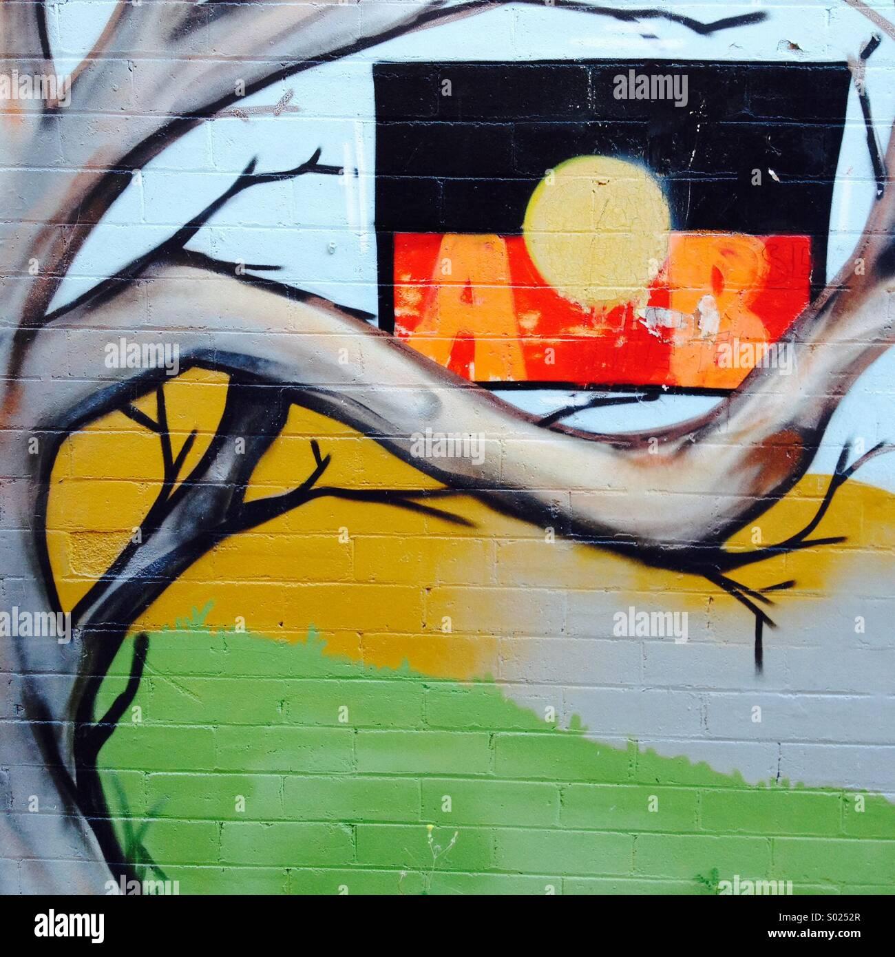 Street art featuring the Aboriginal flag in a tree, Lismore, NSW, Australia - Stock Image
