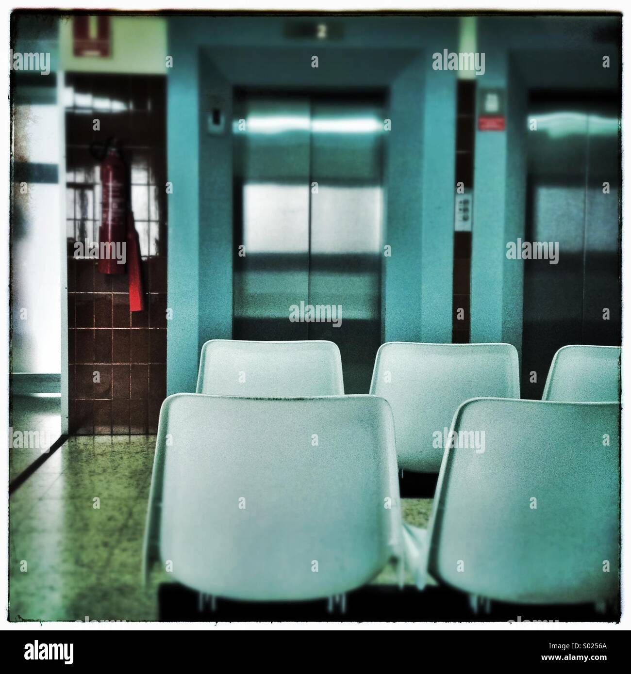 Waiting room in a public hospital in Barcelona, Catalonia, Spain - Stock Image