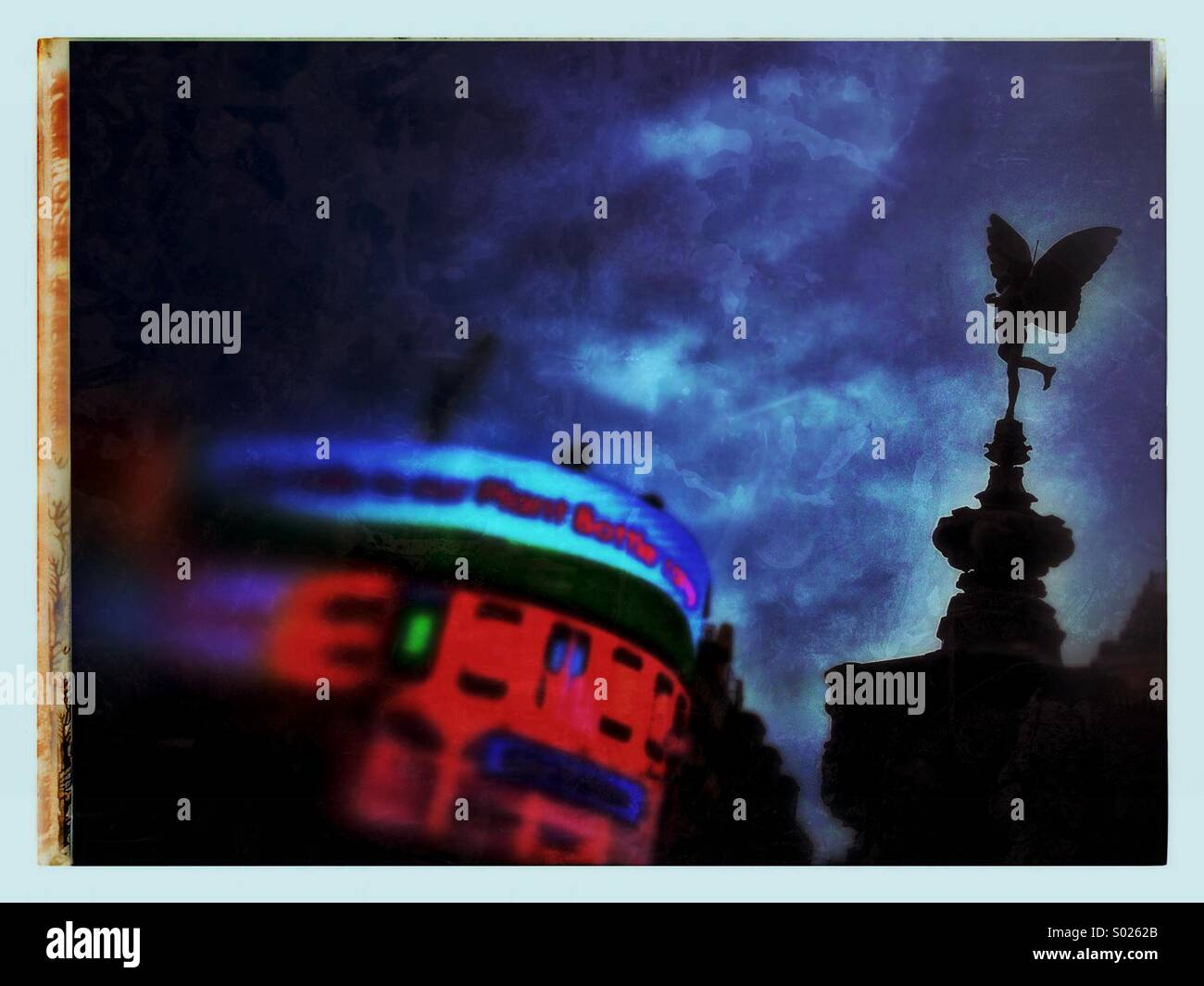 Piccadilly Circus London with statue of Eros - Stock Image