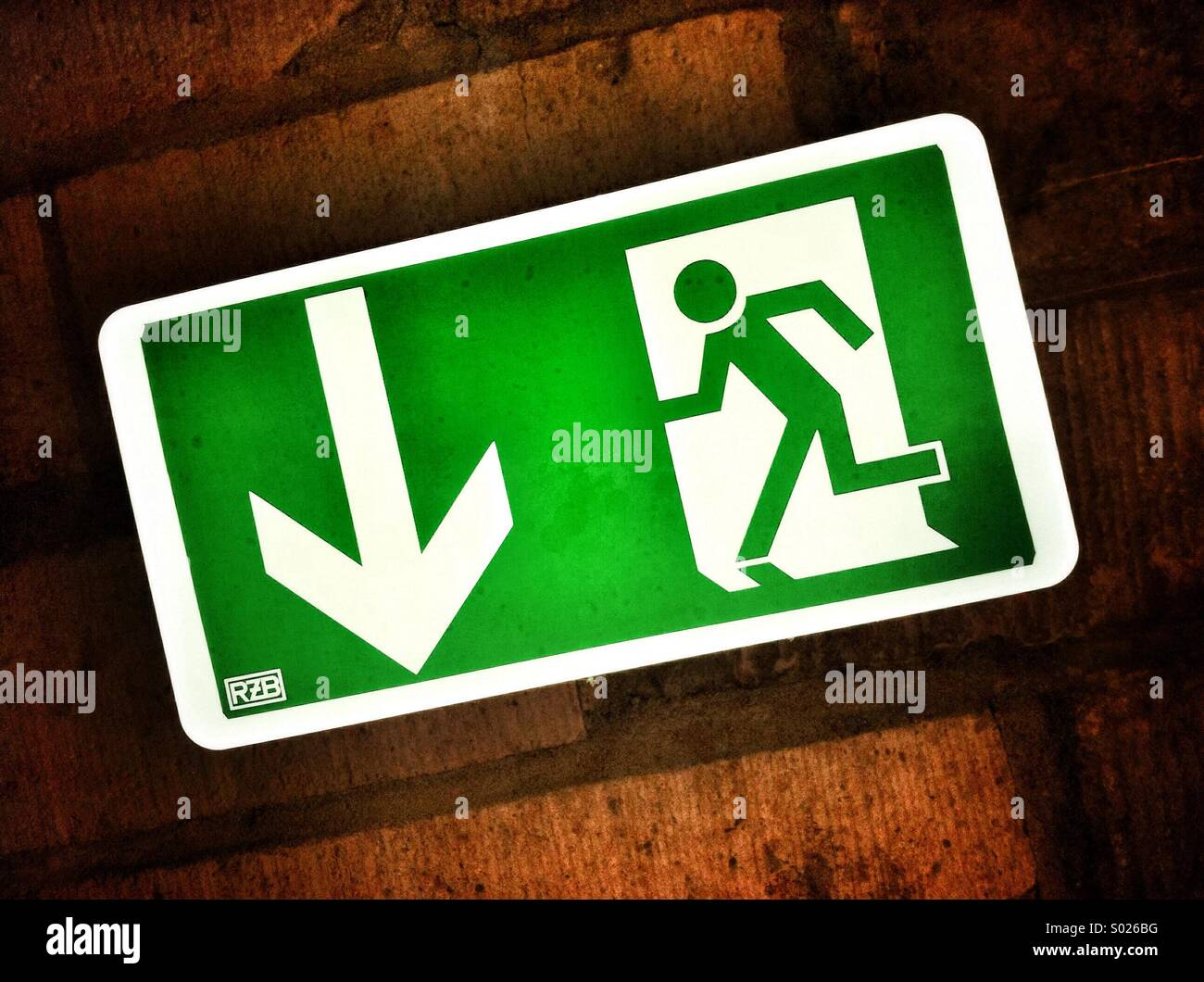 Sign. of a Emergency exit - Stock Image