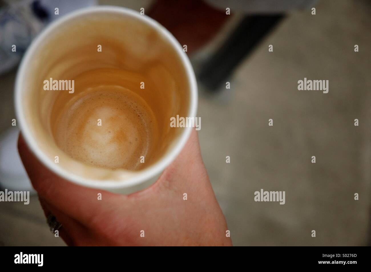 Empty coffee cup with residual foam Stock Photo