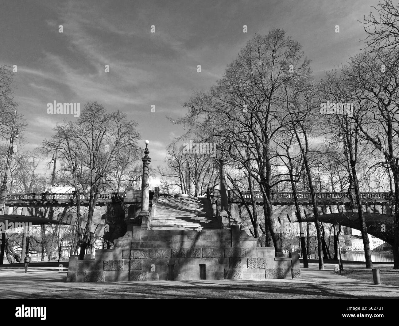 Famous Bridge of Legions and Strelecky island in Prague - Stock Image