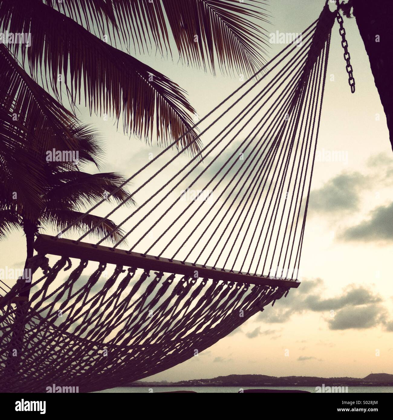 Hammock on beach, at sunset, with palm trees. Stock Photo
