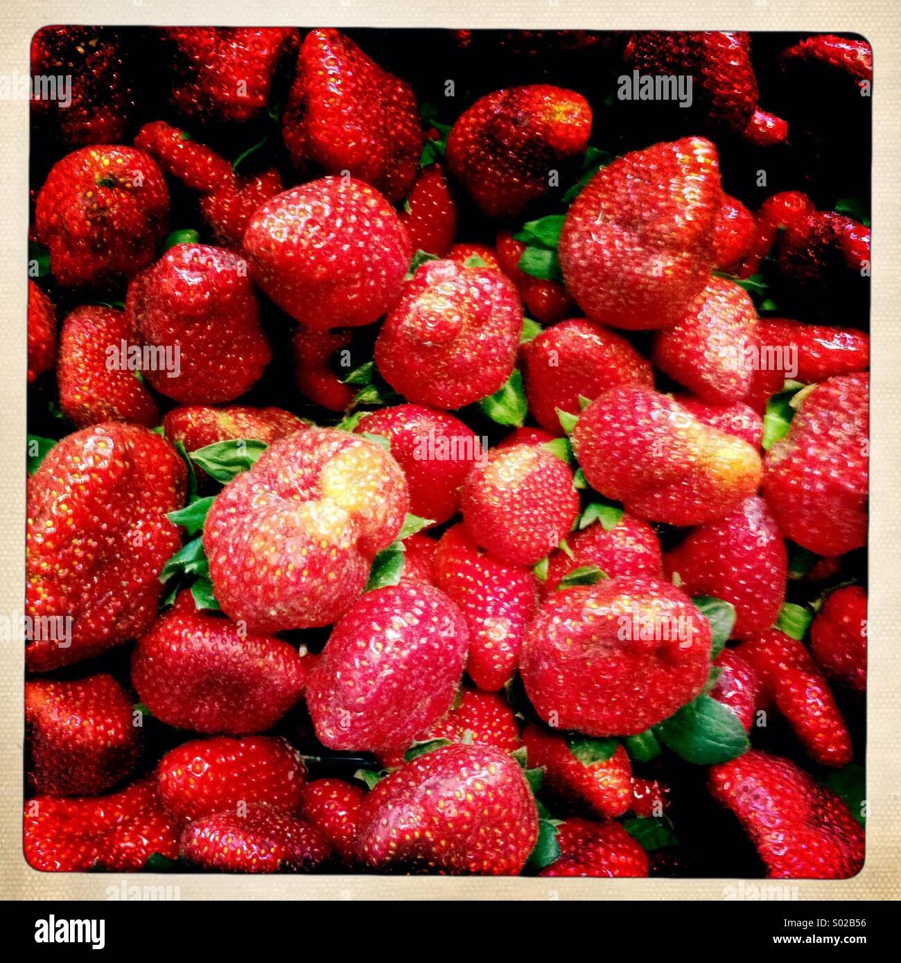 Strawberries in market - Stock Image