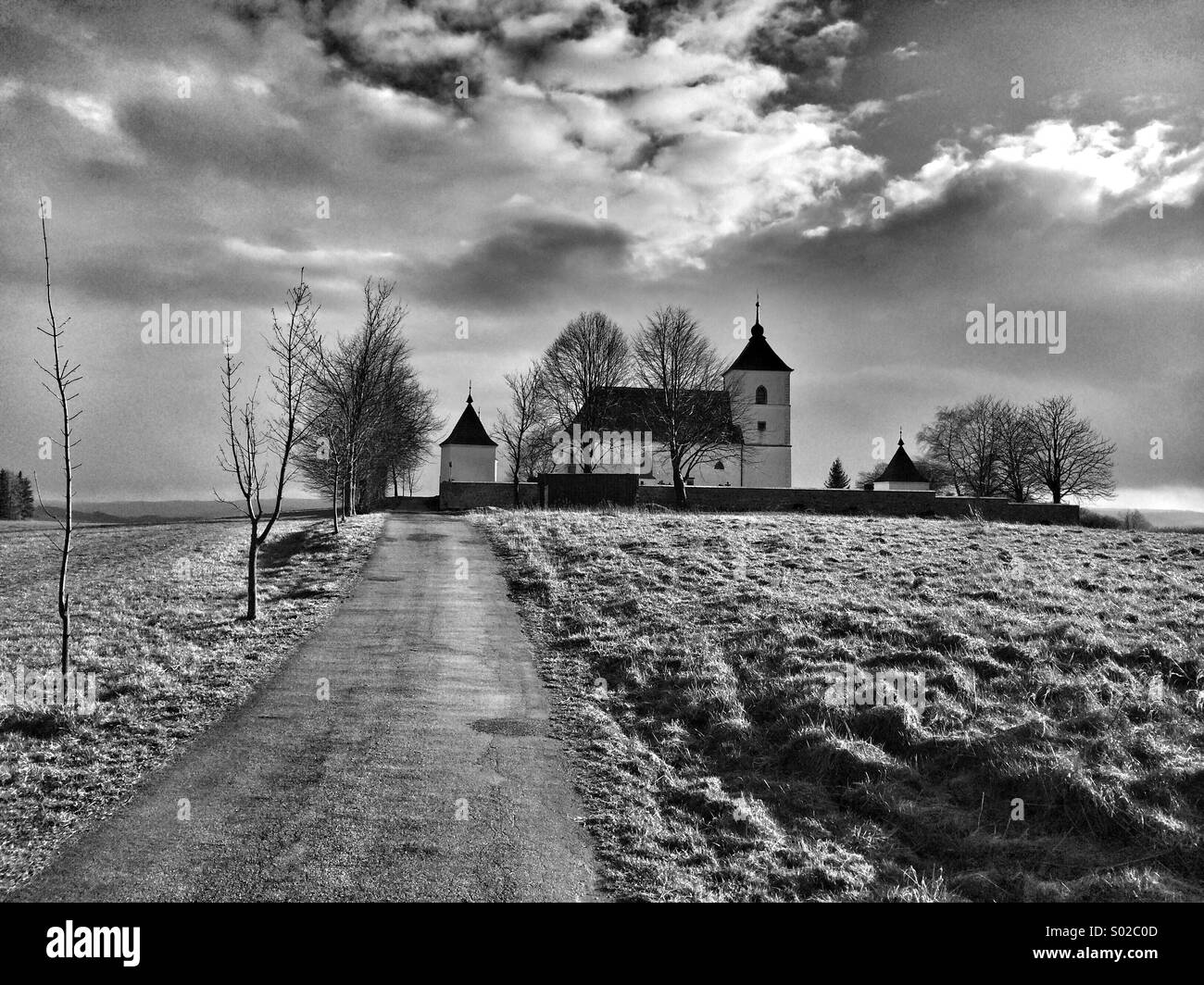 Holy Trinity Church in Vysoke Studnice,Czech Republic - Stock Image