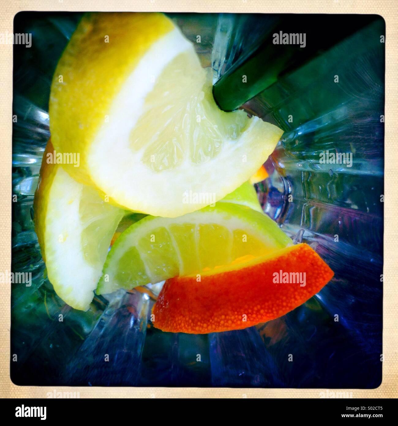 Lemon and orange slices - Stock Image
