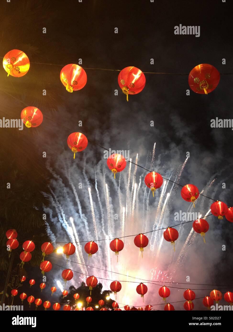 Chinese New Year lanterns fireworks - Stock Image