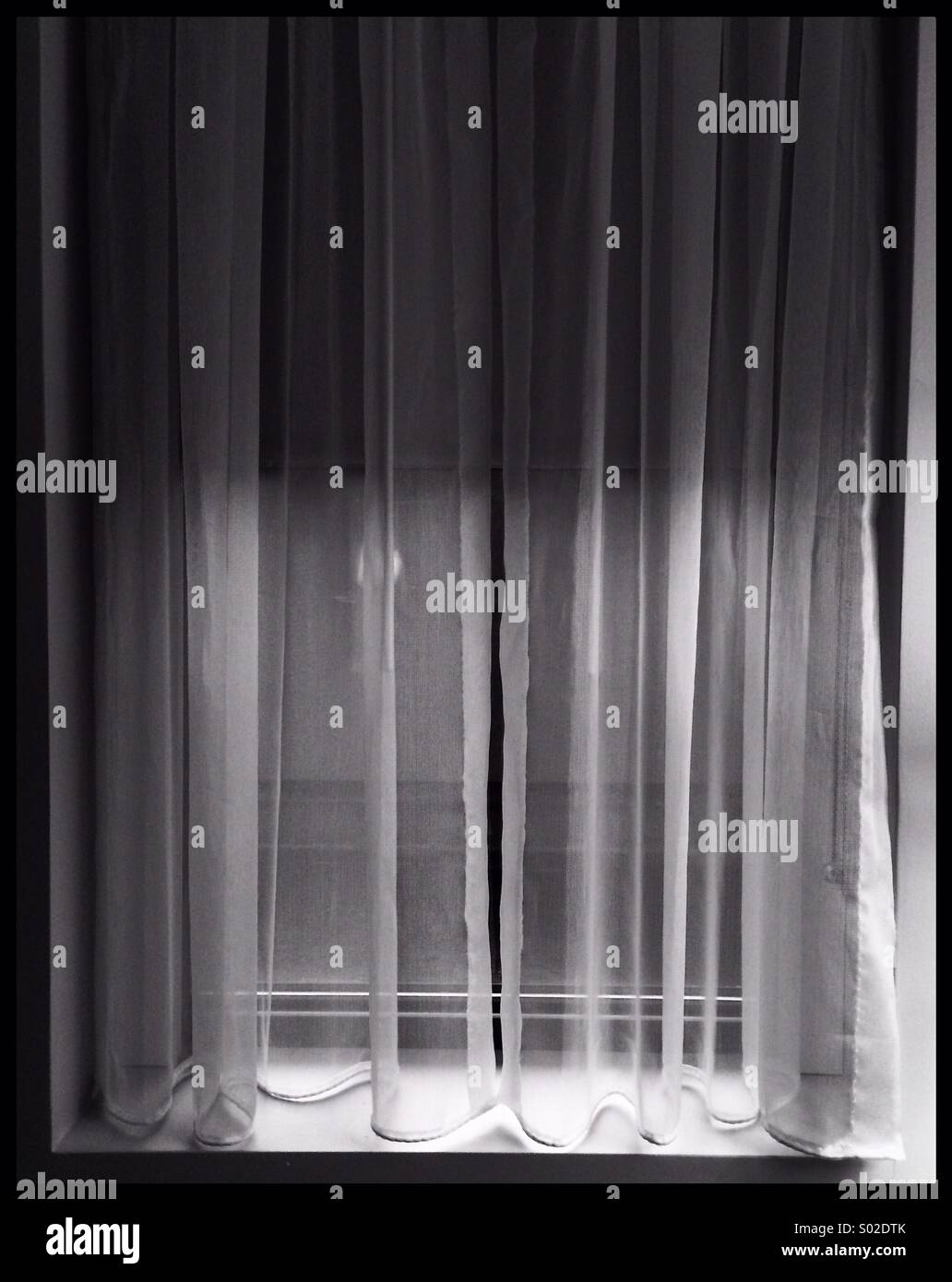 Black and white window with curtain - Stock Image
