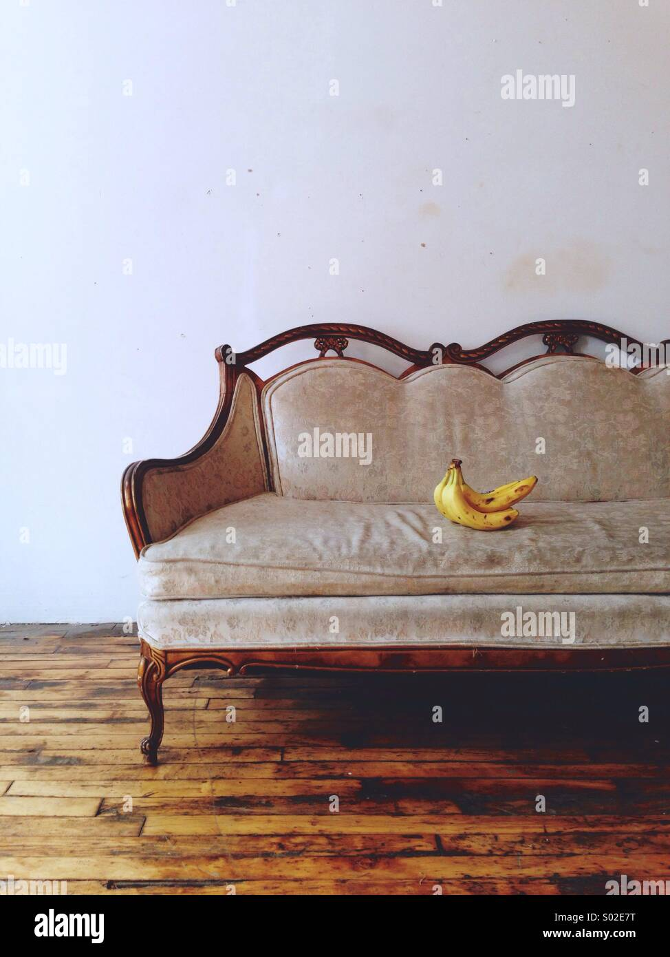 Chair, Sofa, With Bananas, Classical, Fruit, Art, Artistic, Artsy. Wood  Floor, Wood Furniture, White Wall, Old, Rustic, Shabby. Yellow Banana.