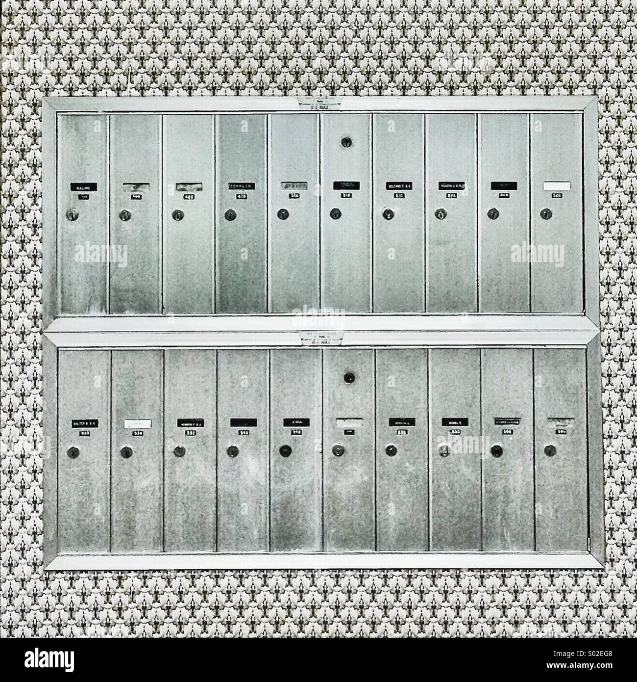 Mailboxes and surrounding patterns - Stock Image