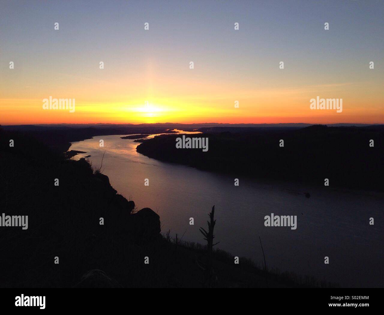 Sunset over Oregon' Columbia Gorge - Stock Image