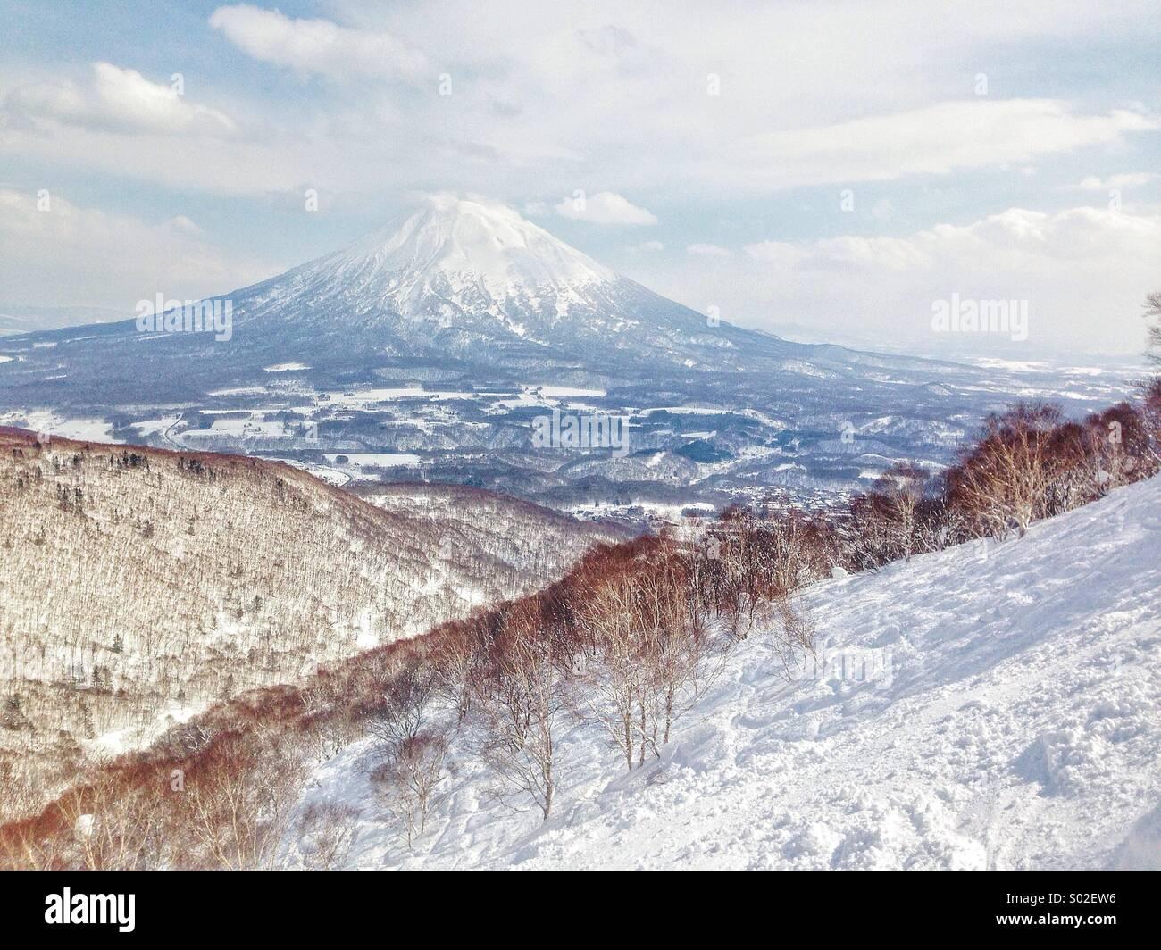 Backcountry with Mt. Yotei. Hokkaido, Japan - Stock Image
