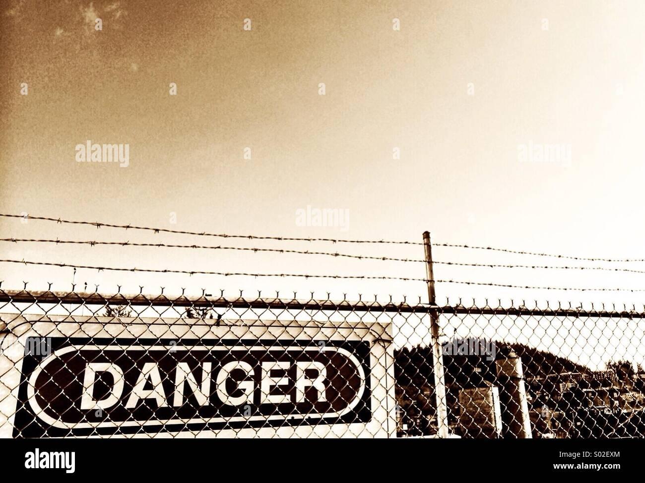 Environmental Danger signs! - Stock Image