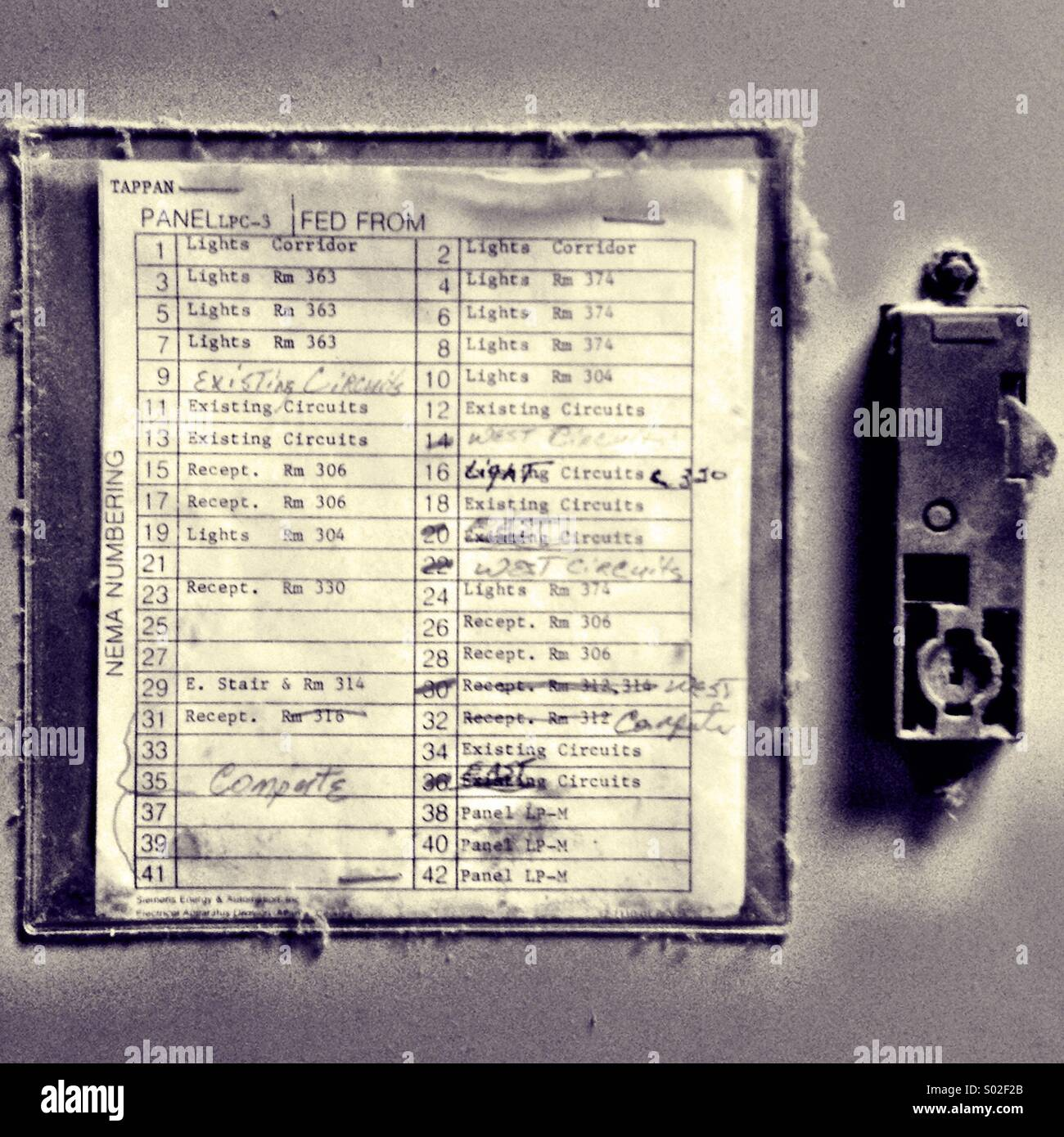 Fuse list from electrical junction box. - Stock Image