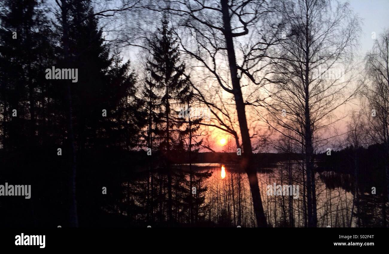 Sunset at the lake :) - Stock Image