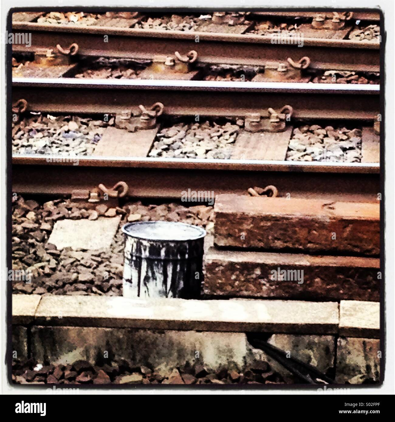 Train line and paint - Stock Image