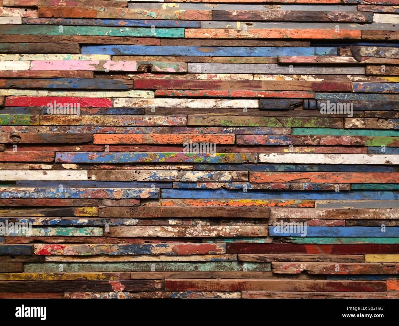 Repurposed Wood (horizontal) windows frames reused as wall art - Stock Image