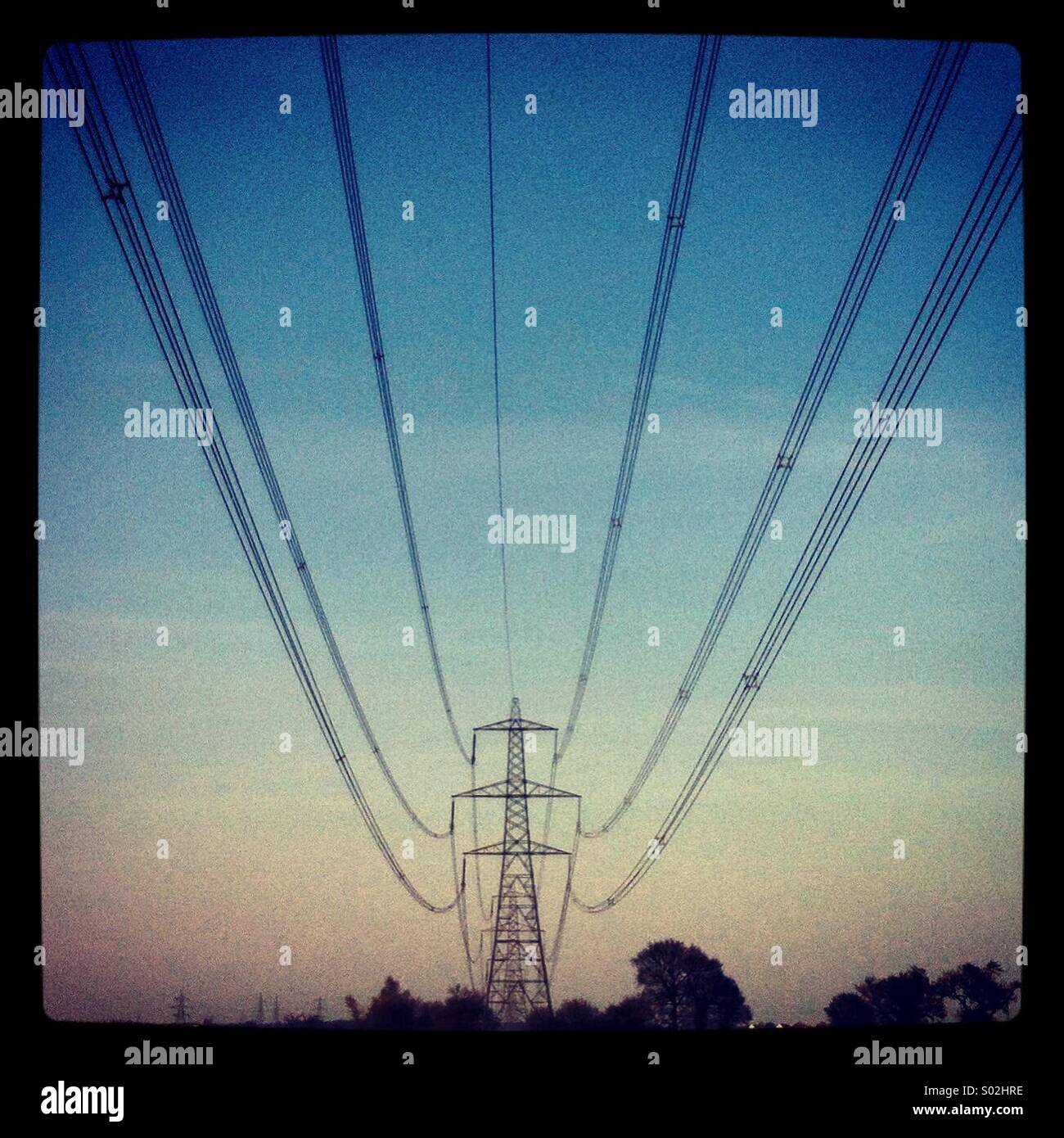 Electricity lines leading to a pylon in a field in Essex. - Stock Image