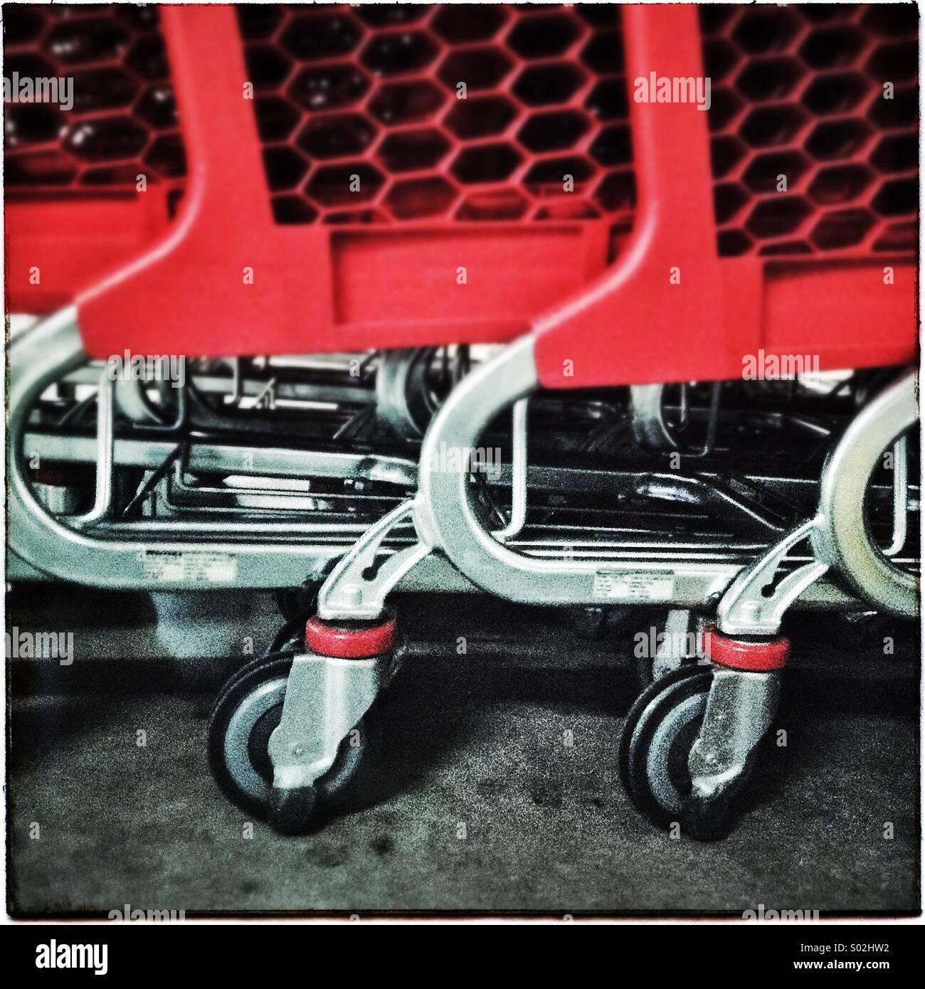 Supermarket shopping carts - Stock Image
