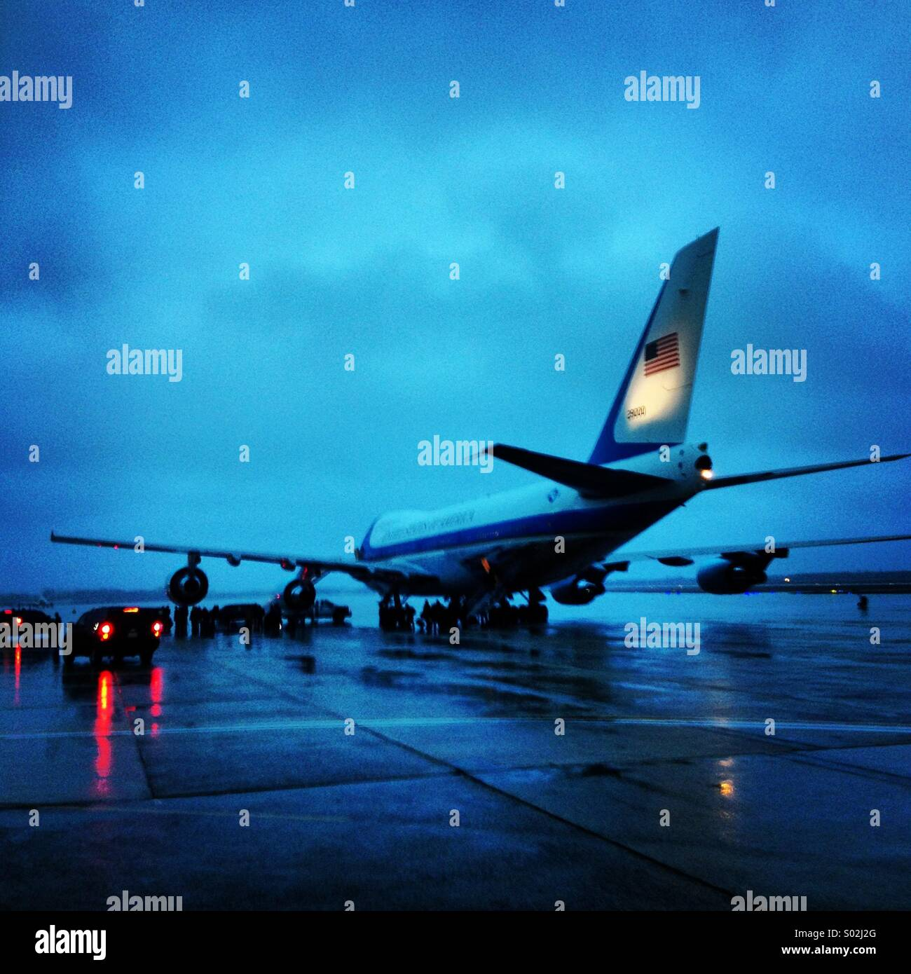 Air Force One on a rainy night at Joint Base Andrews. - Stock Image
