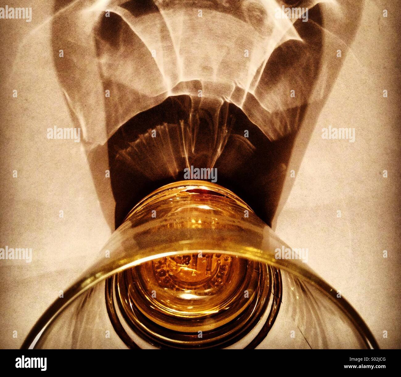 Glass wish shaddow - Stock Image