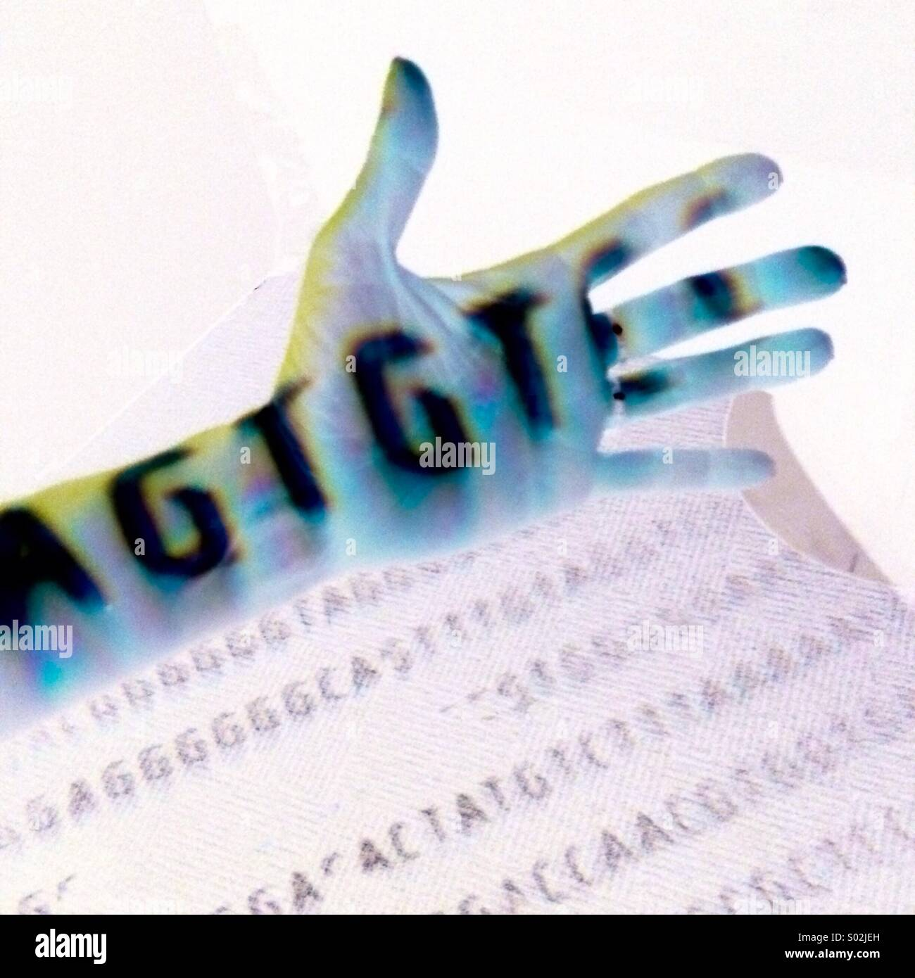 Dna sequence on hand - Stock Image