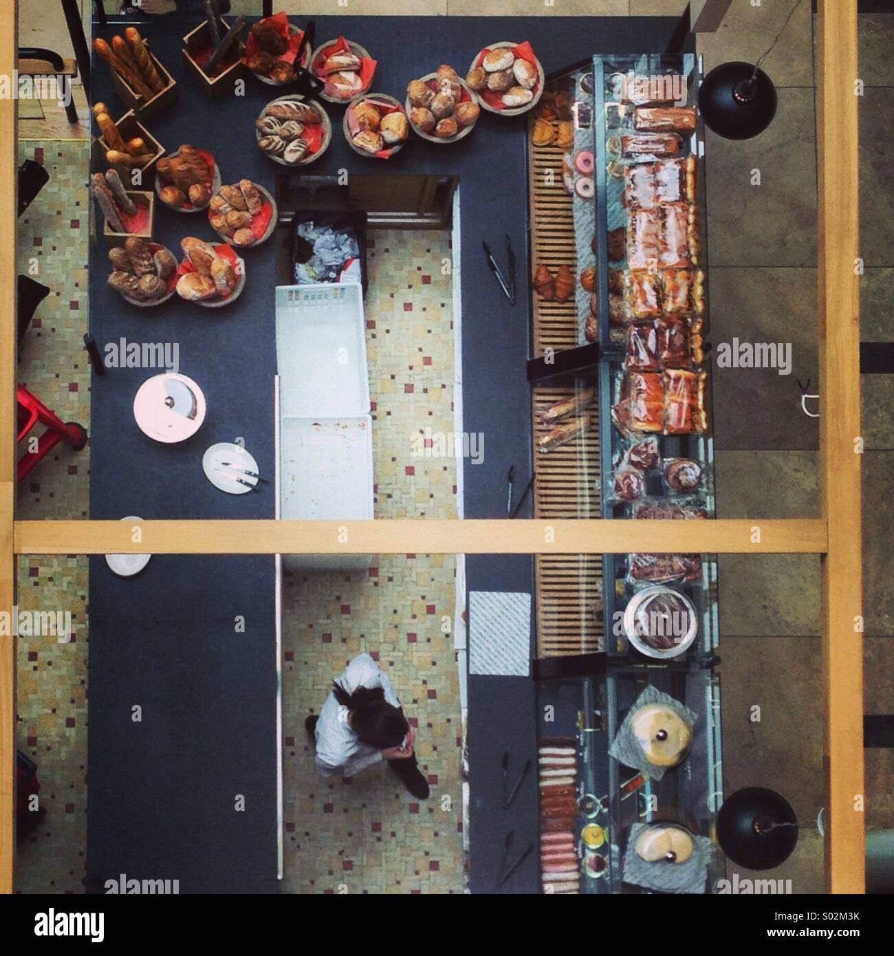 Bird eye view cafe shop - different perspective - ABC mall - Stock Image