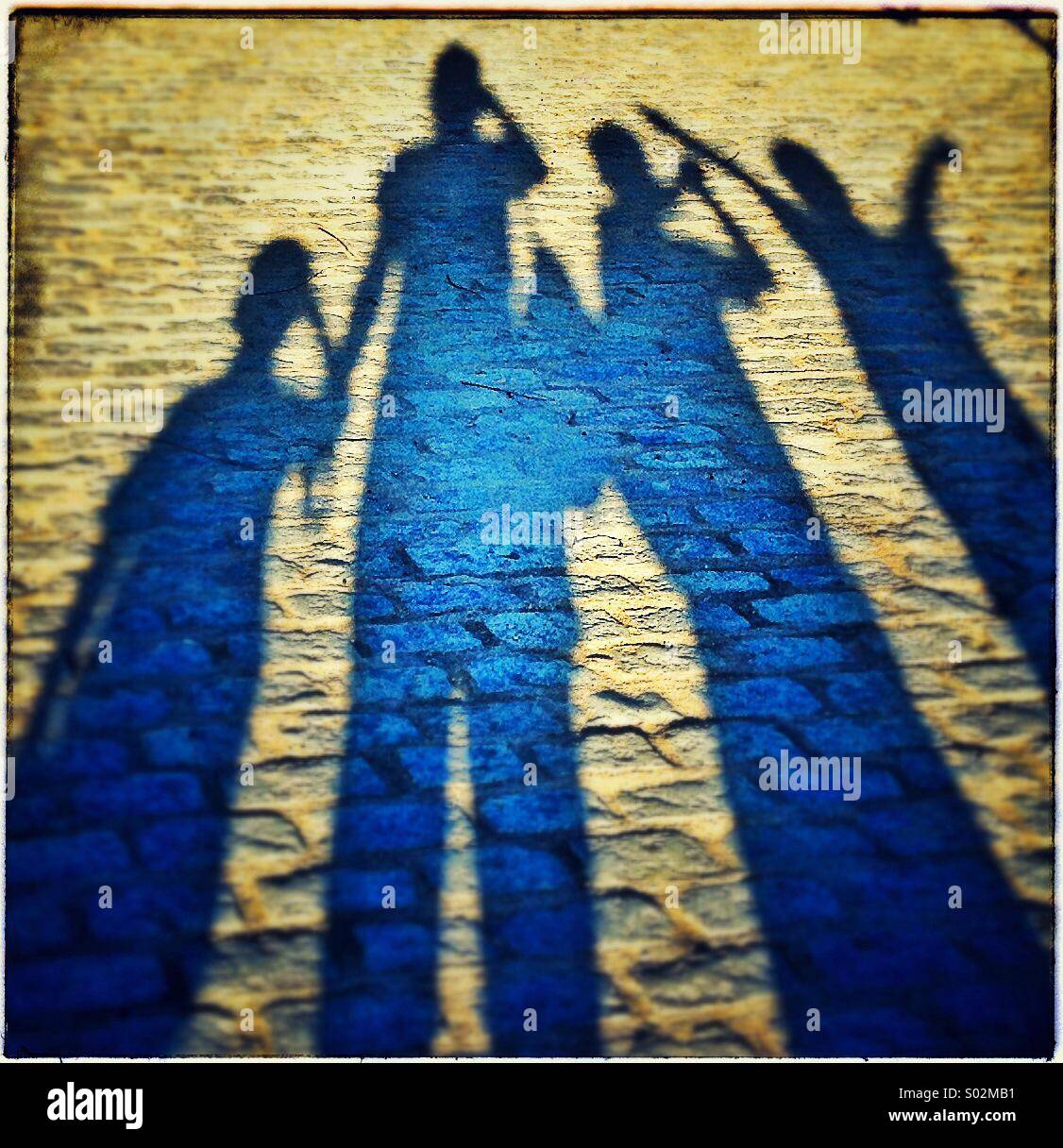Shadow of a happy family - Stock Image