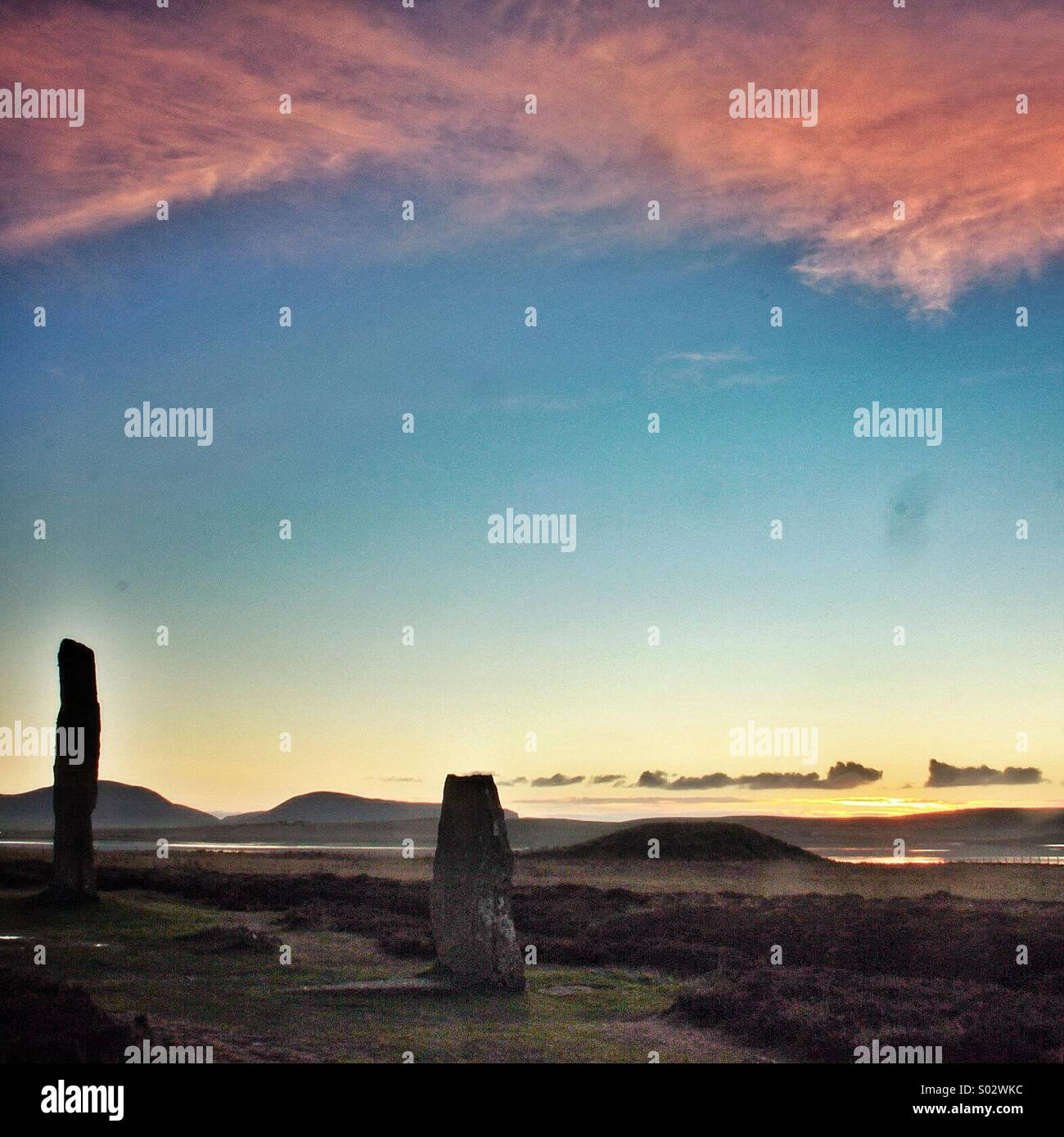Tranquil sunset, Ring of Brodgar, Orkney Isles, Scotland... - Stock Image