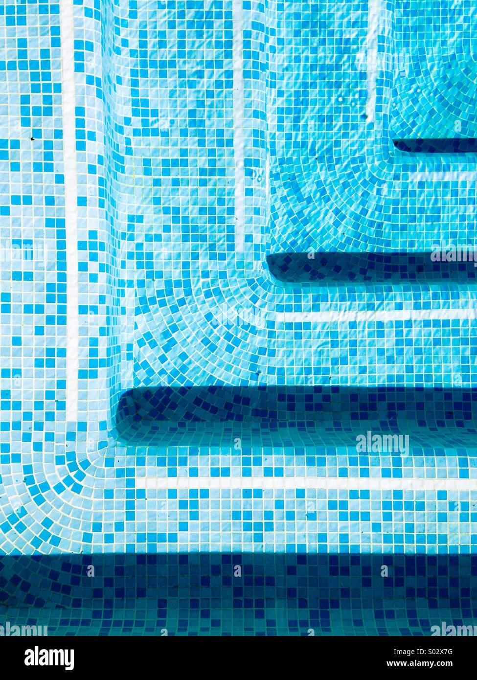Swimming Pool Steps - Stock Image