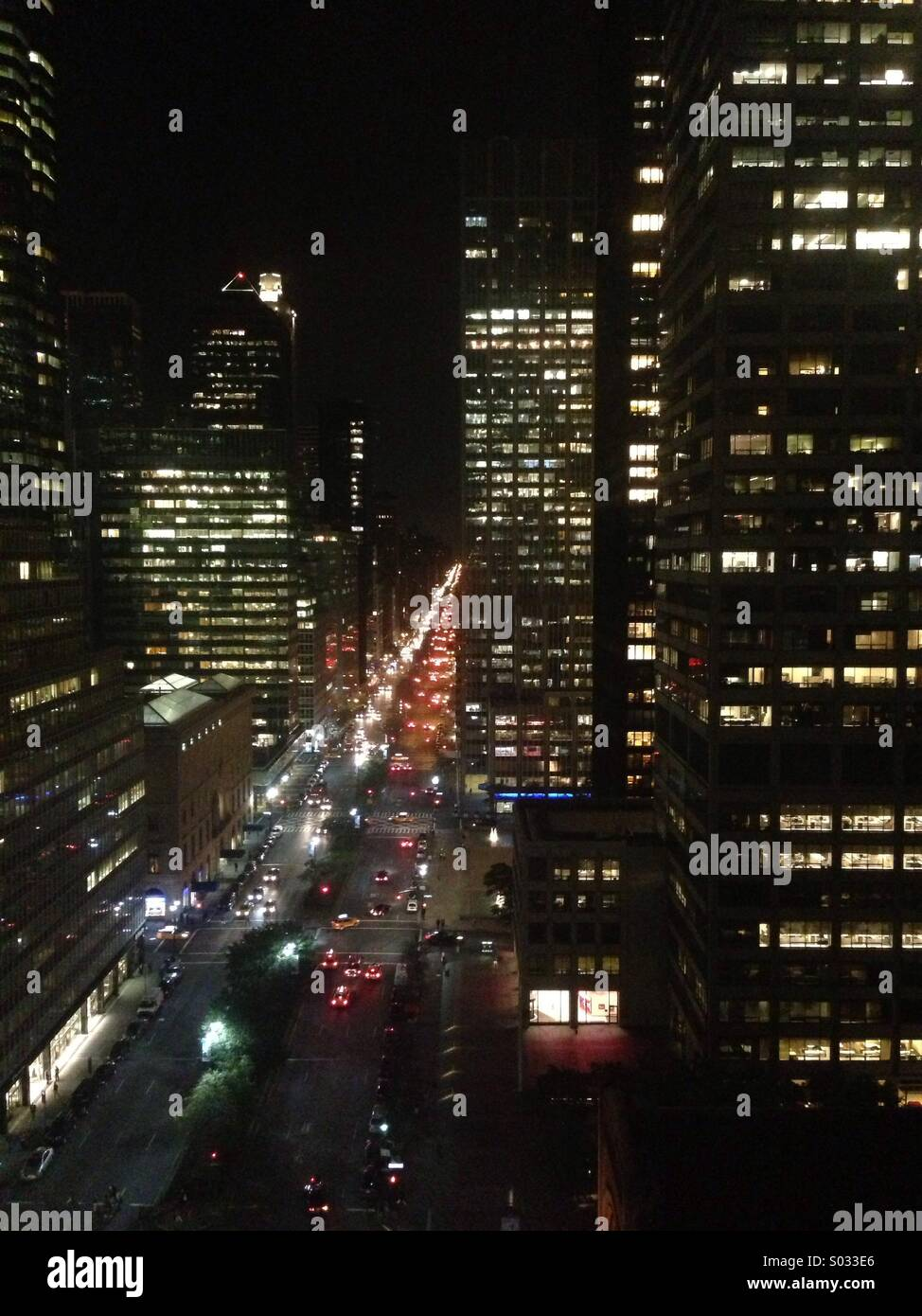 New York sky scrapers at night - Stock Image