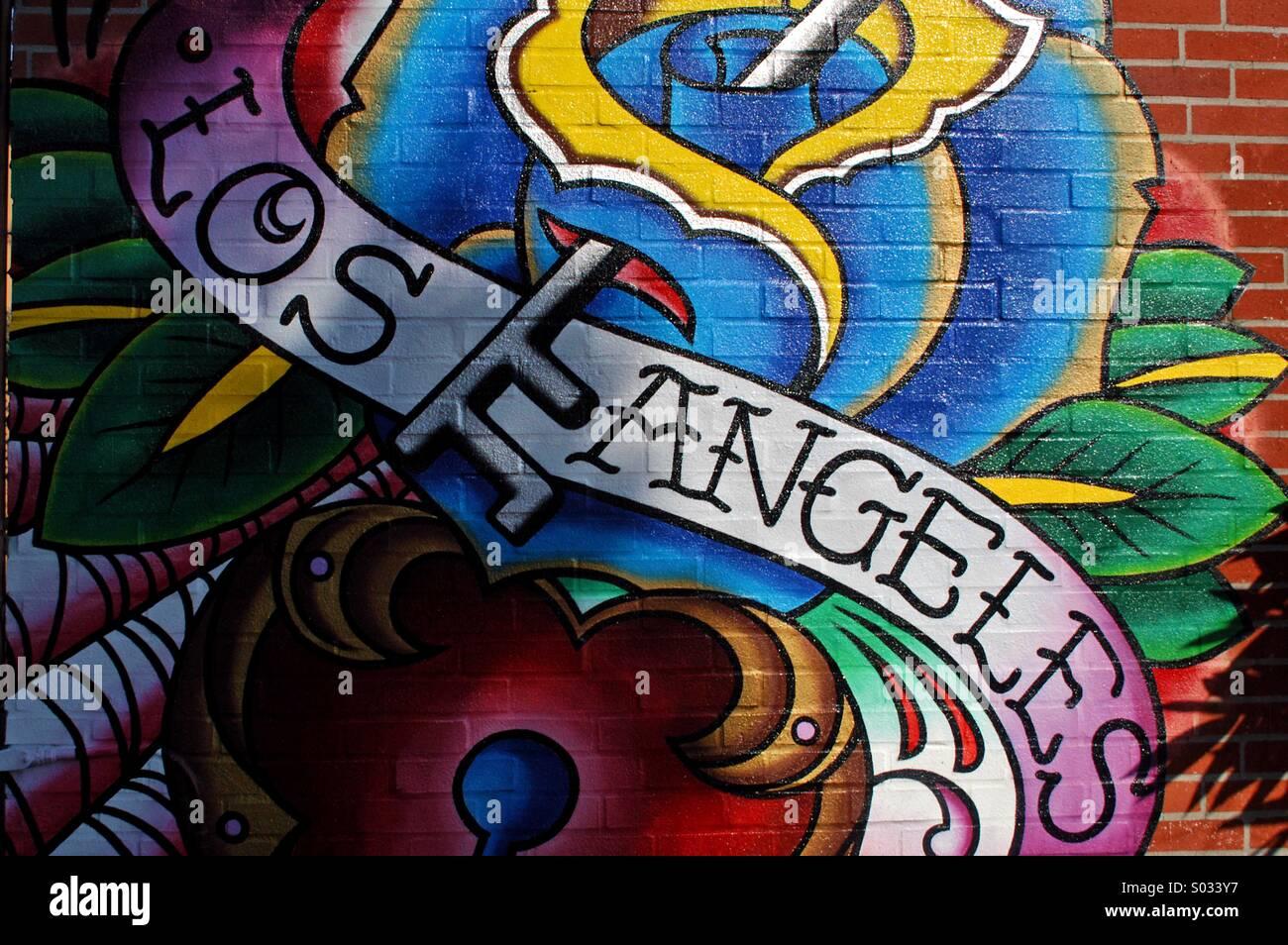 Los Angeles graffiti, off Melrose, LA Stock Photo