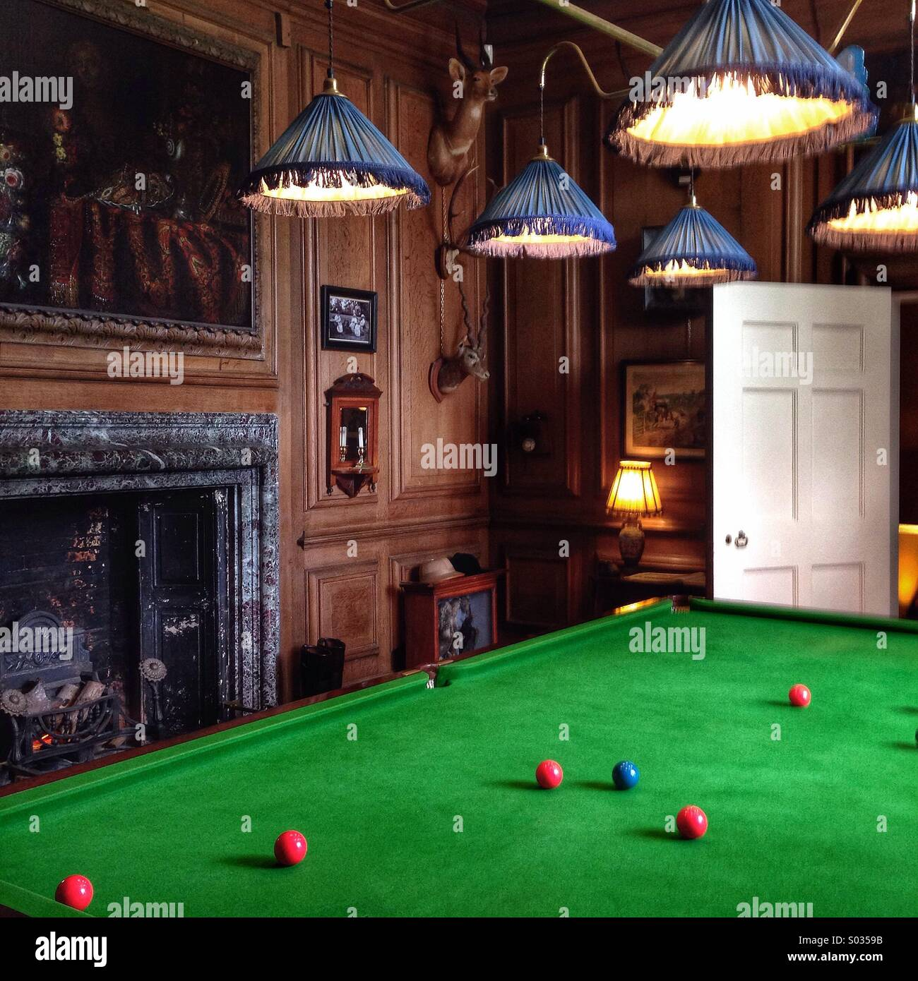 Snooker Table In A Billiard Room By A Grand Fire Case And Painting - Pool table painting