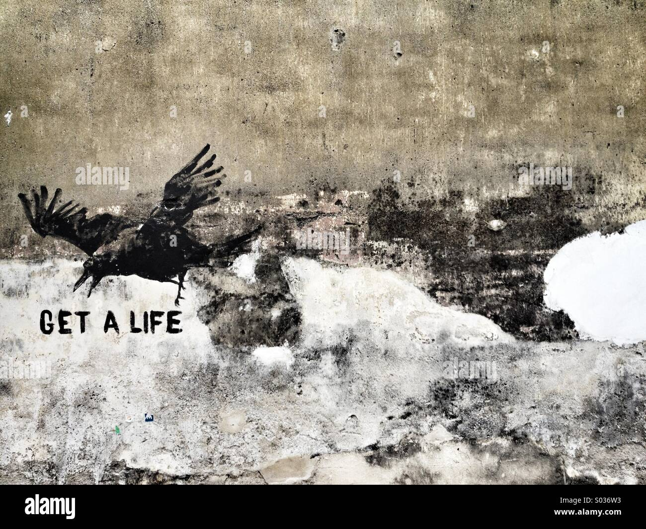Get a Life wall art - Stock Image