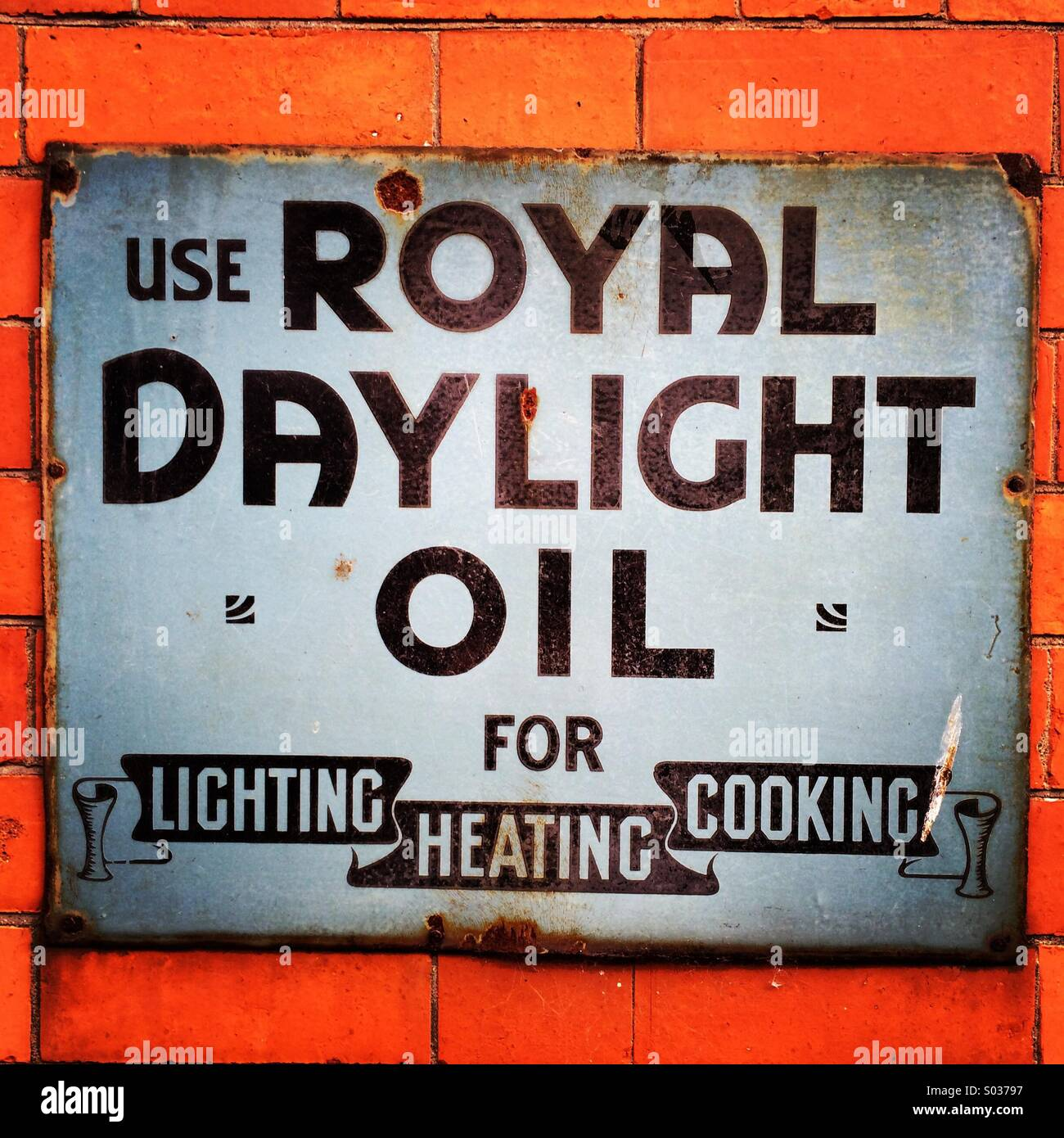 Royal Daylight Oil authentic wall advertisement. - Stock Image