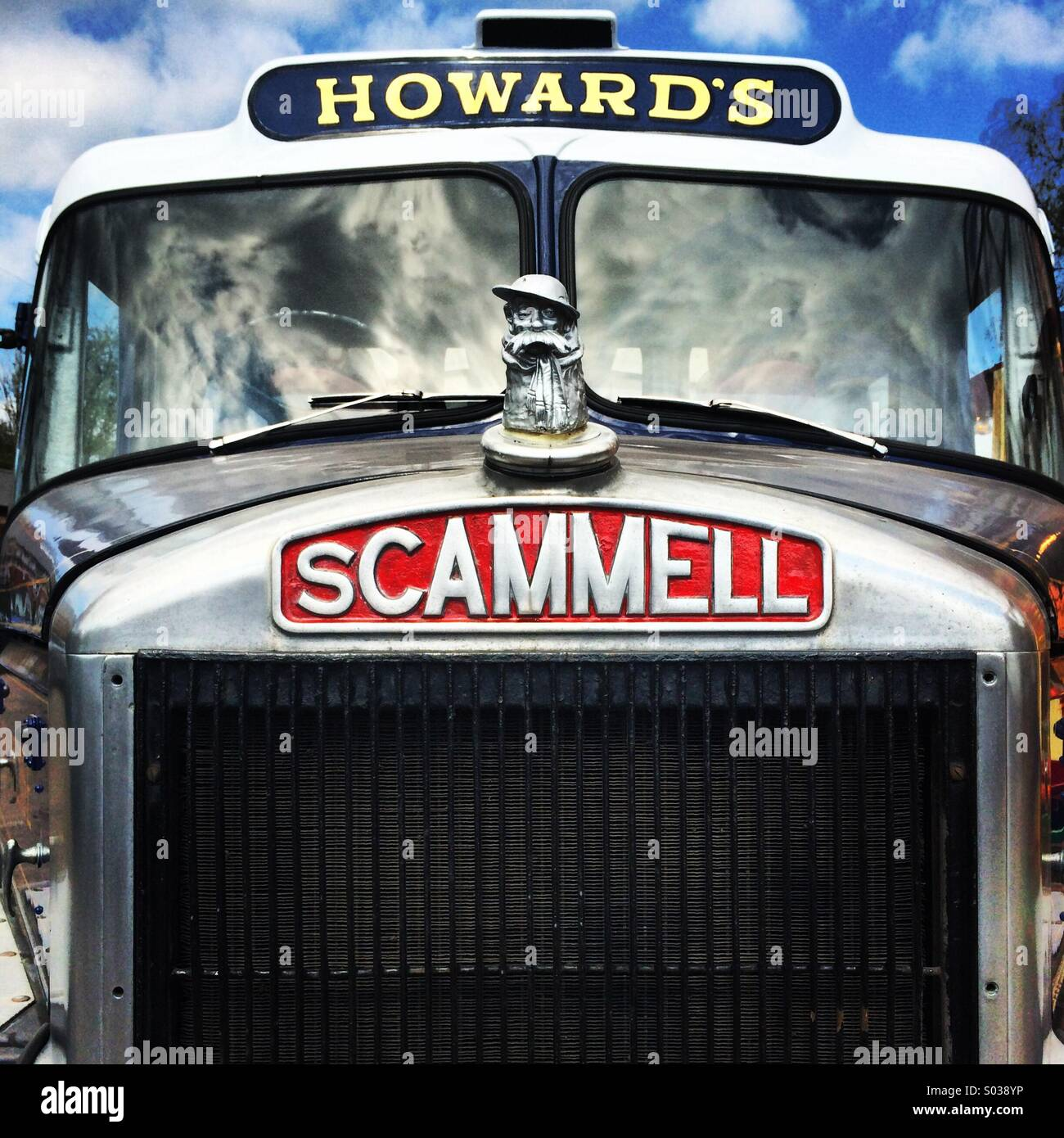 Front view of a restored Scammell British truck. - Stock Image